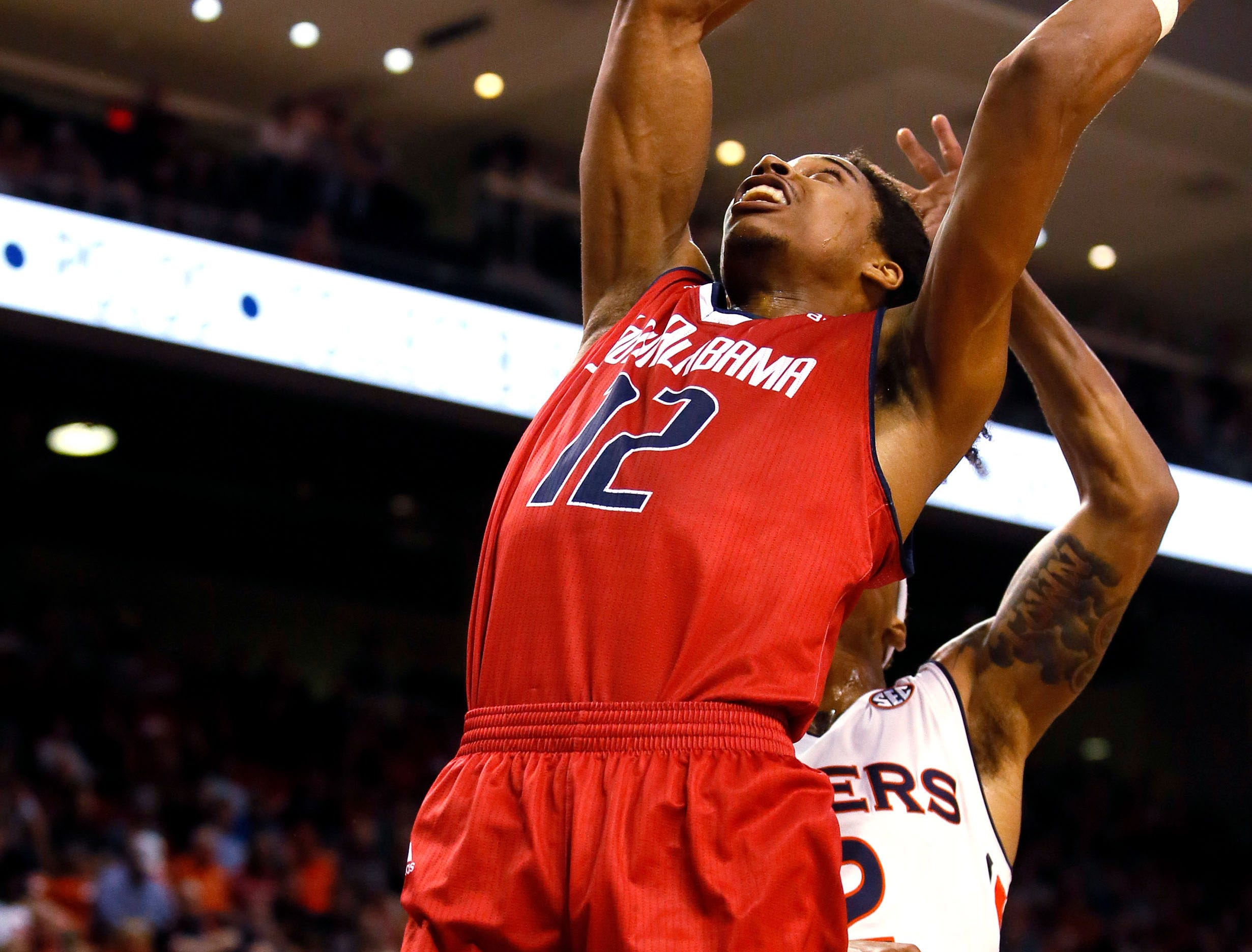 Nov 6, 2018; Auburn, AL, USA; South Alabama Jaguars forward RJ Kelly (12) takes a shot against the Auburn Tigers during the first half at Auburn Arena. Mandatory Credit: John Reed-USA TODAY Sports