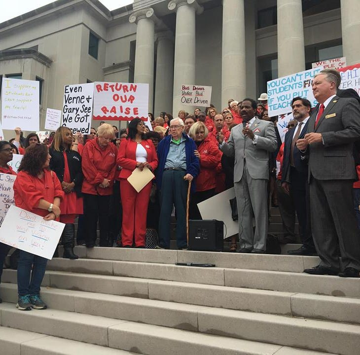 Hundreds of Alabama educators protest insurance premium increase at judicial building