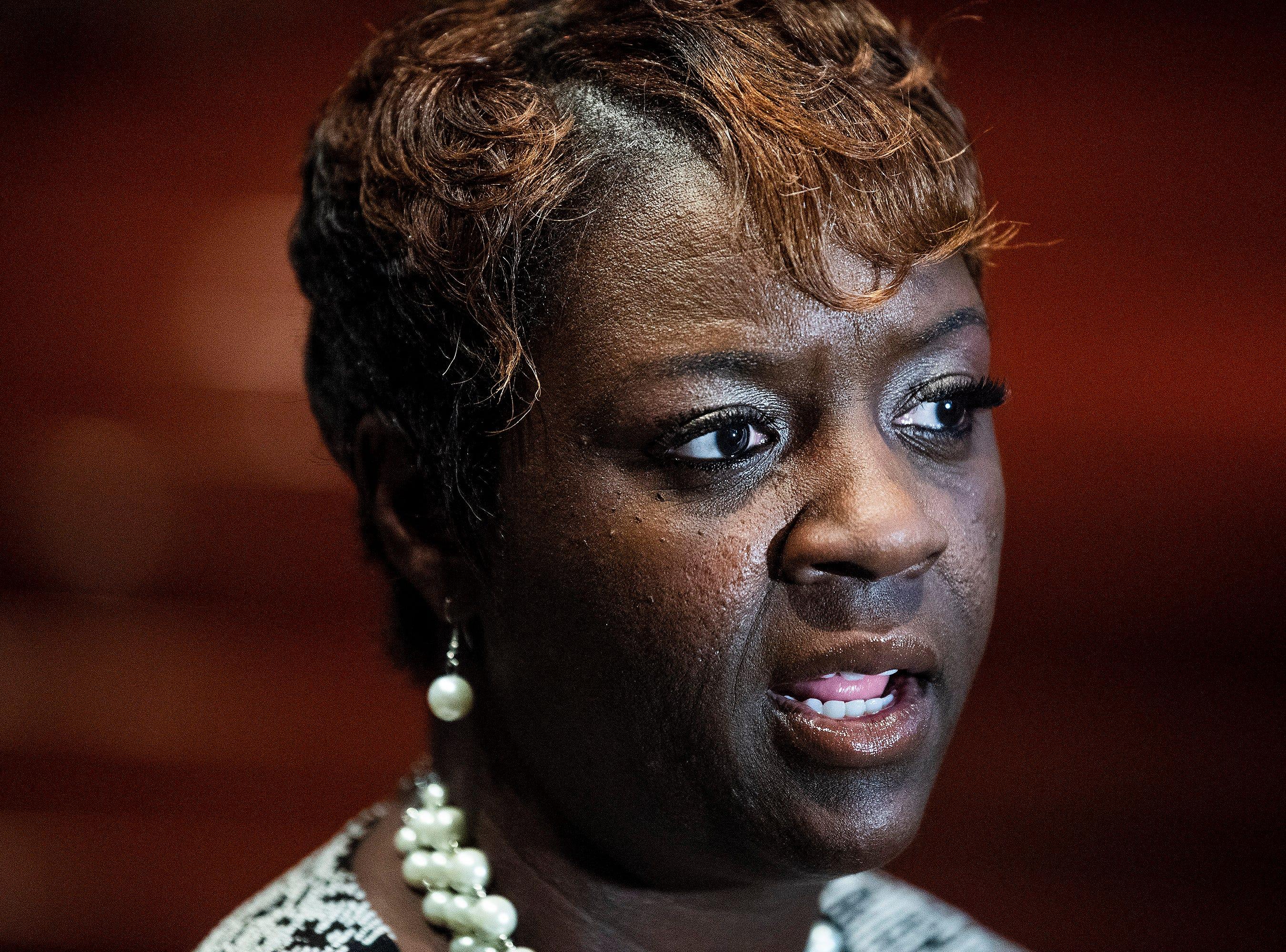 Representative Tashina Morris speaks at her swearing-in ceremony at Freewill Baptist Church in Montgomery, Ala., on Wednesday November 7, 2018. Morris is Montgomery's first black female legislator.
