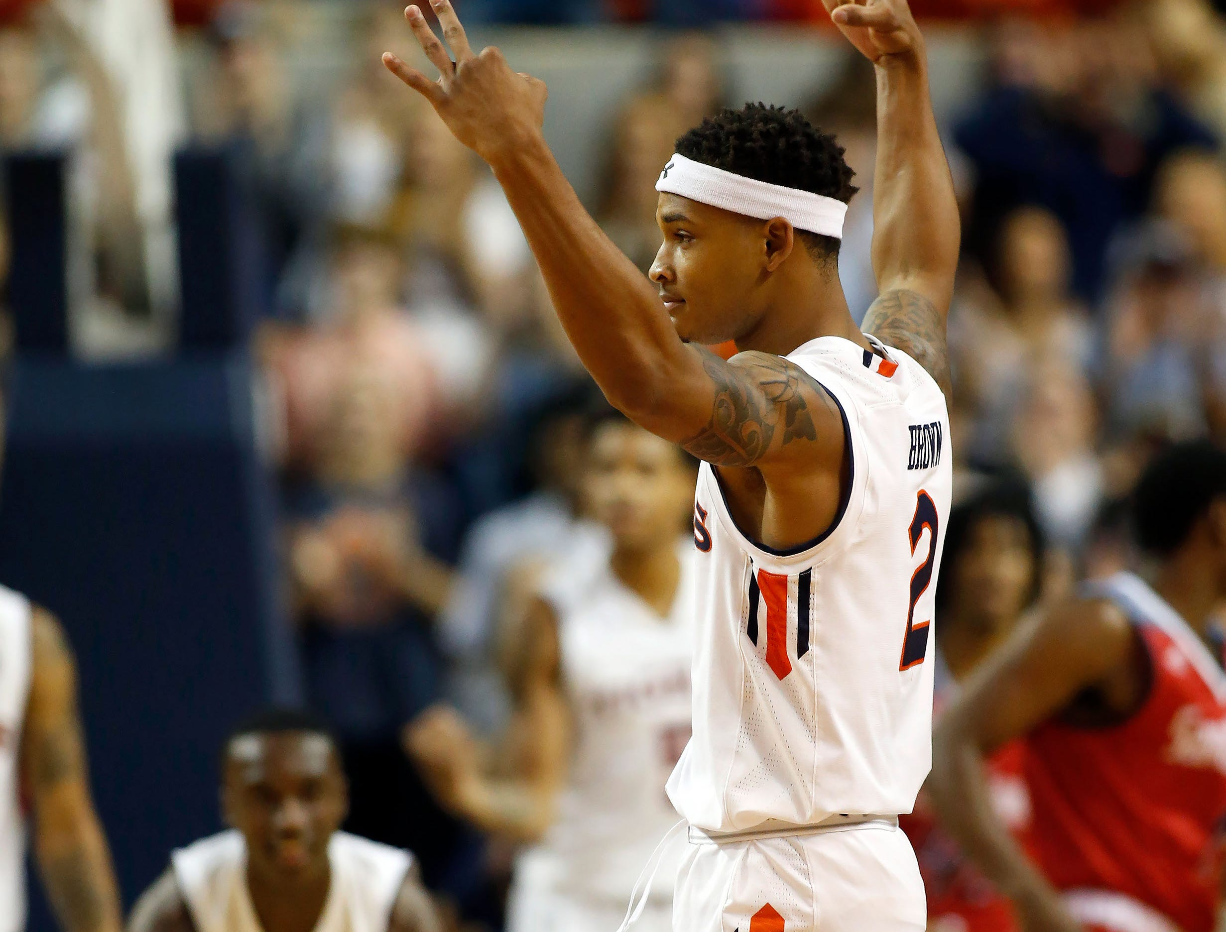 Nov 6, 2018; Auburn, AL, USA; Auburn Tigers guard Bryce Brown (2) reacts after scoring against the South Alabama Jaguars during the first half at Auburn Arena. Mandatory Credit: John Reed-USA TODAY Sports