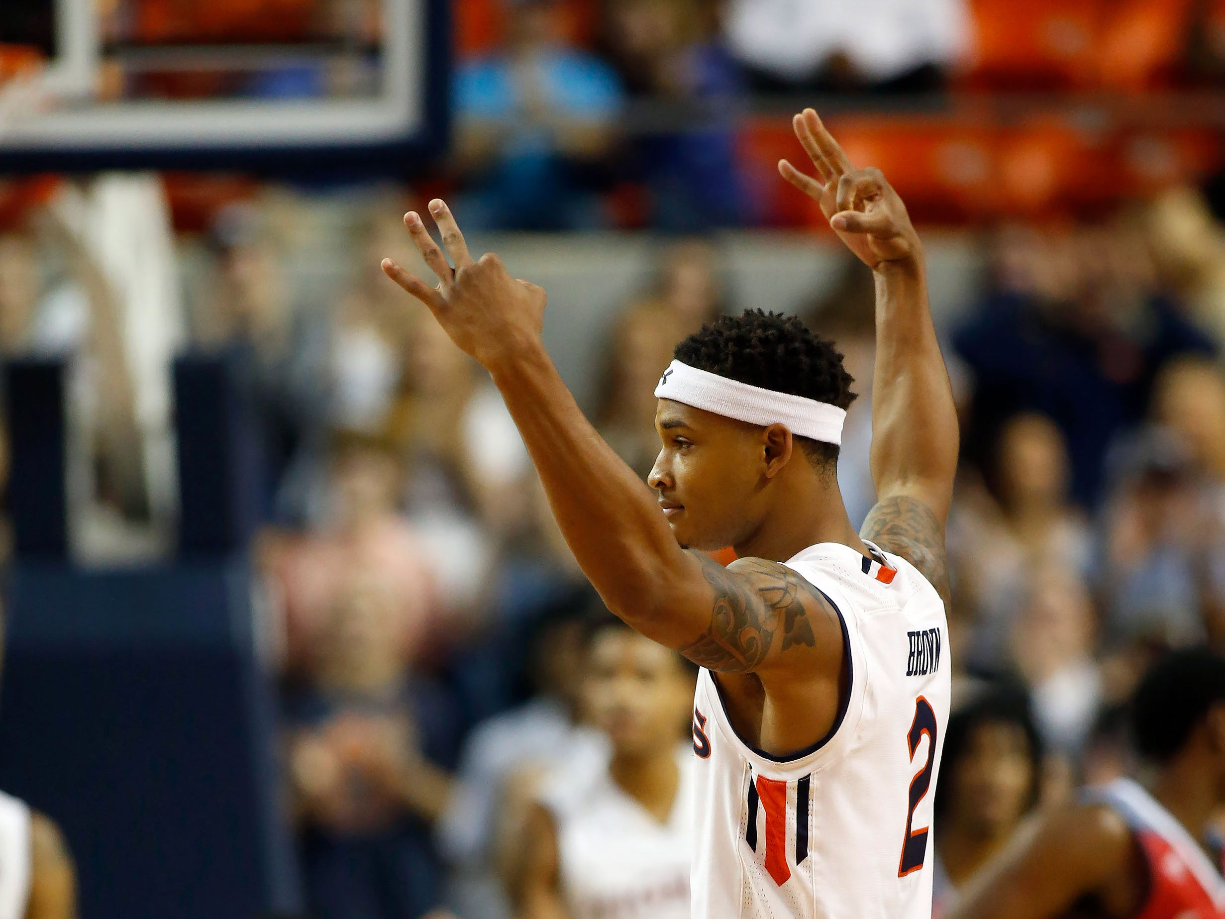 Auburn guard Bryce Brown (2) reacts after scoring against South Alabama on Nov. 6, 2018, in Auburn, Ala.