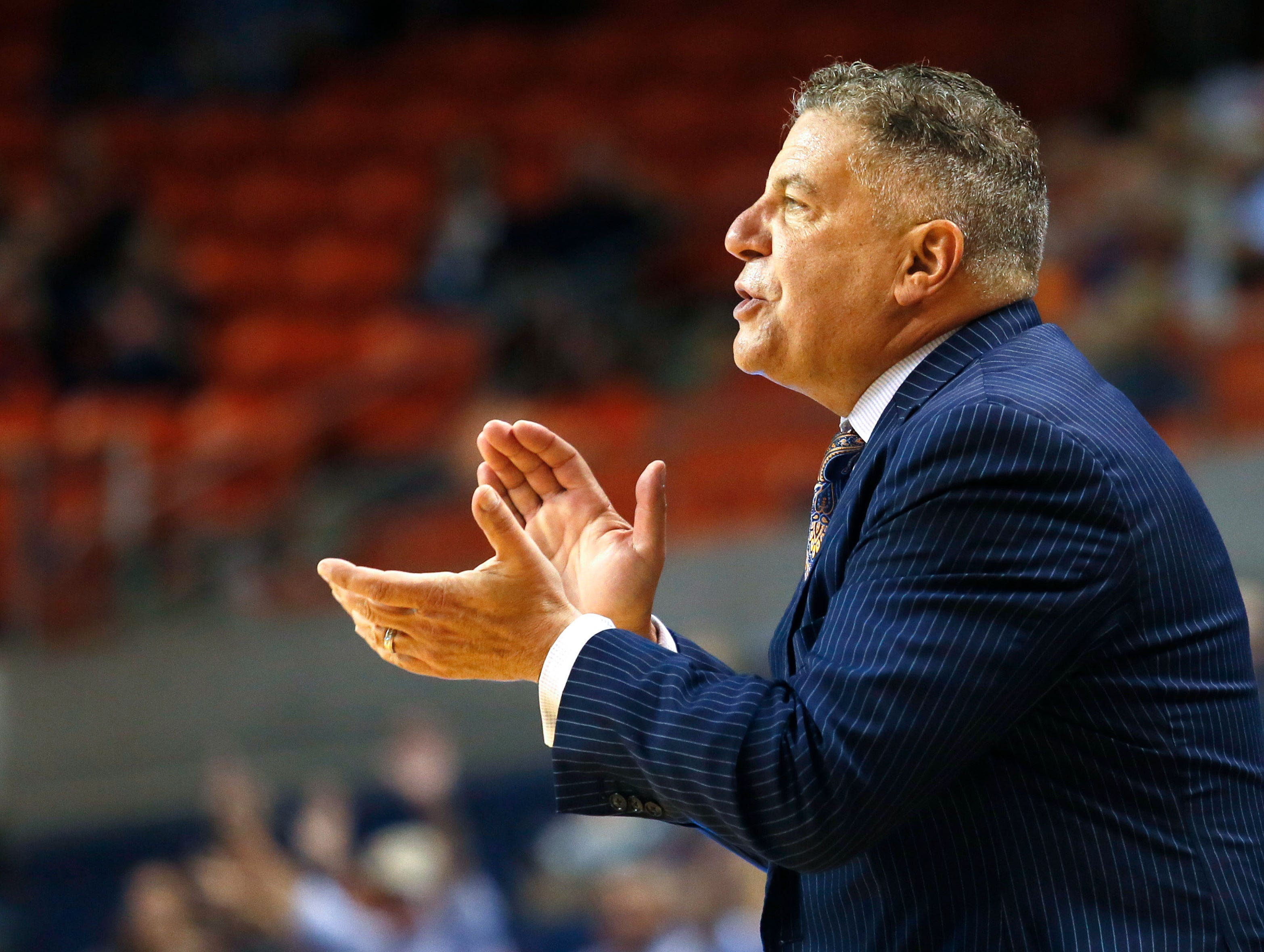 Auburn head coach Bruce Pearl directs his team during a game against South Alabama on Nov. 6, 2018.