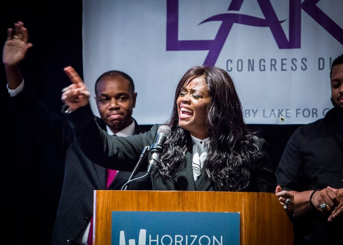 Democrat congressional hopeful Jeannine Lee Lake gave a speech to supporters at the Horizon Convention Center after election results came in Tuesday night. Lake lost to Republican candidate Greg Pence.