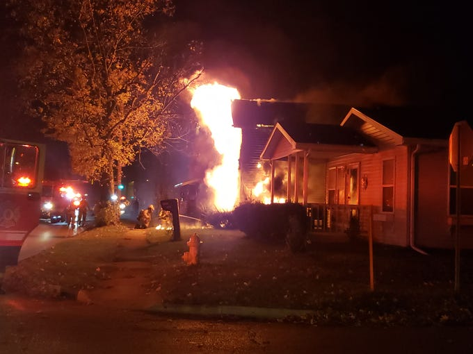 The scene in the 1800 block of West Memorial Tuesday night in Muncie.
