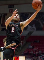 Tayler Persons drives to the basket against Indiana State on Nov. 6, 2018 at Worthen Arena.