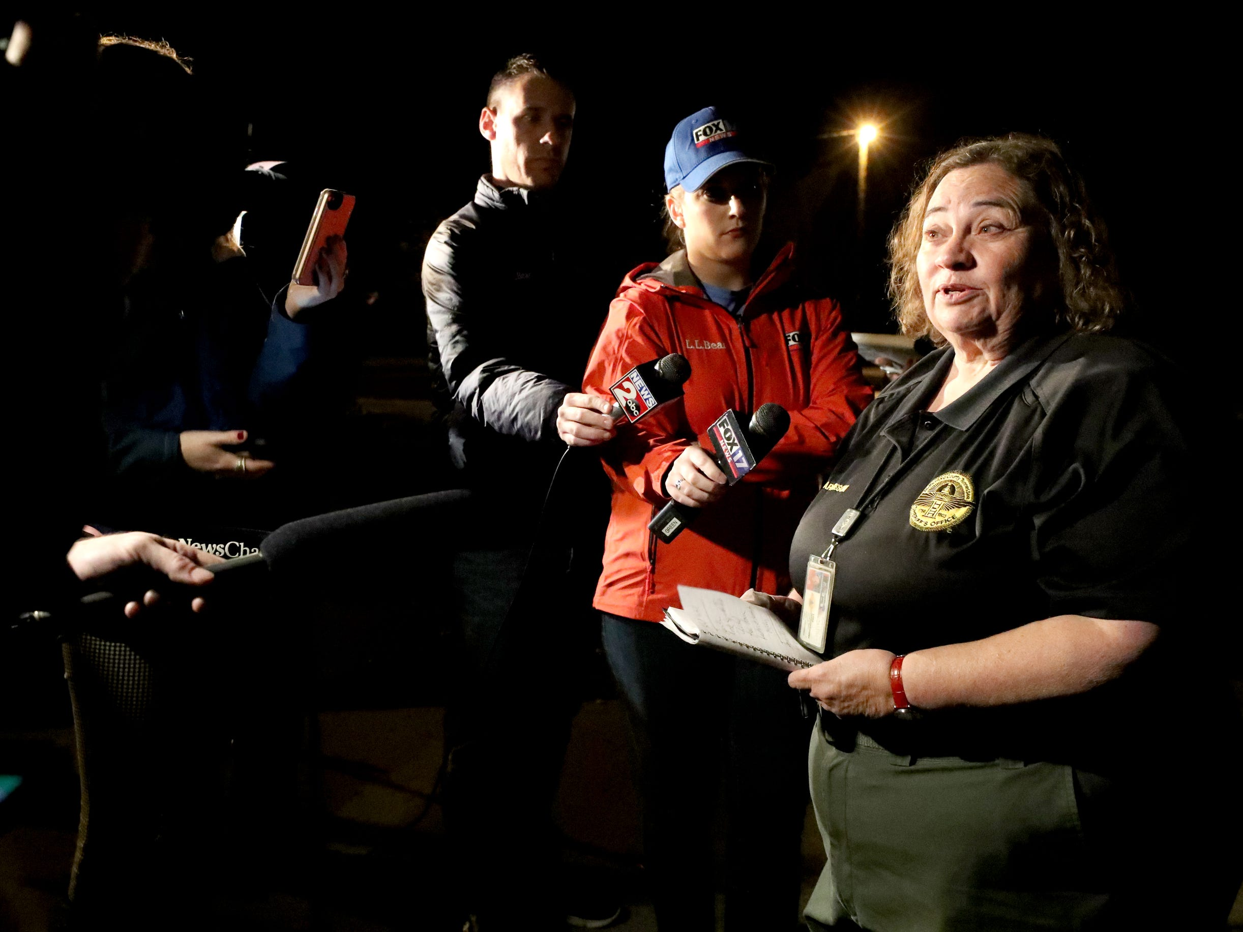 Lisa Marchesoni, spokes person with the Rutherford County Sheriff's Department briefs the media at a 4 am press conference in front of Christiana School, on Tuesday, Nov. 6, 2018, about storm damage in the Christiana area.