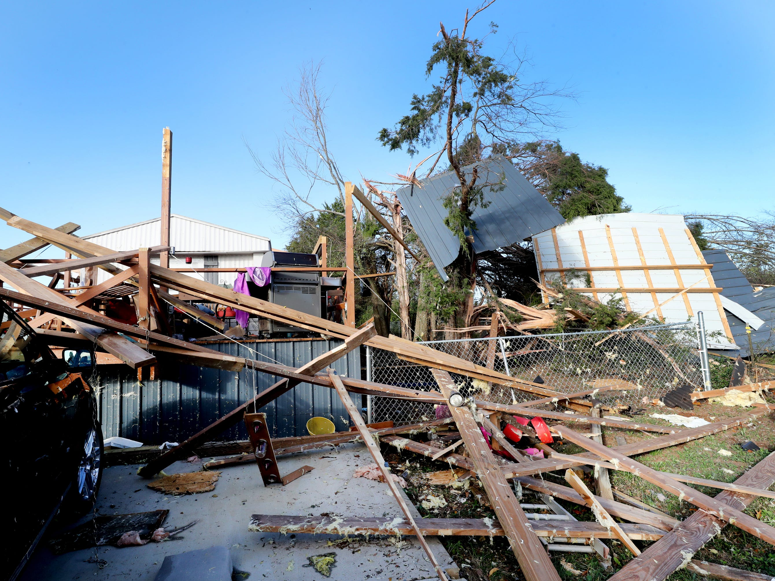 Tornado damage on the property of Hank and Ava Jordan that hit the area along Rock Springs Midland Road in Christiana, Tenn. early in the morning, on Tuesday, Nov. 6, 2018.
