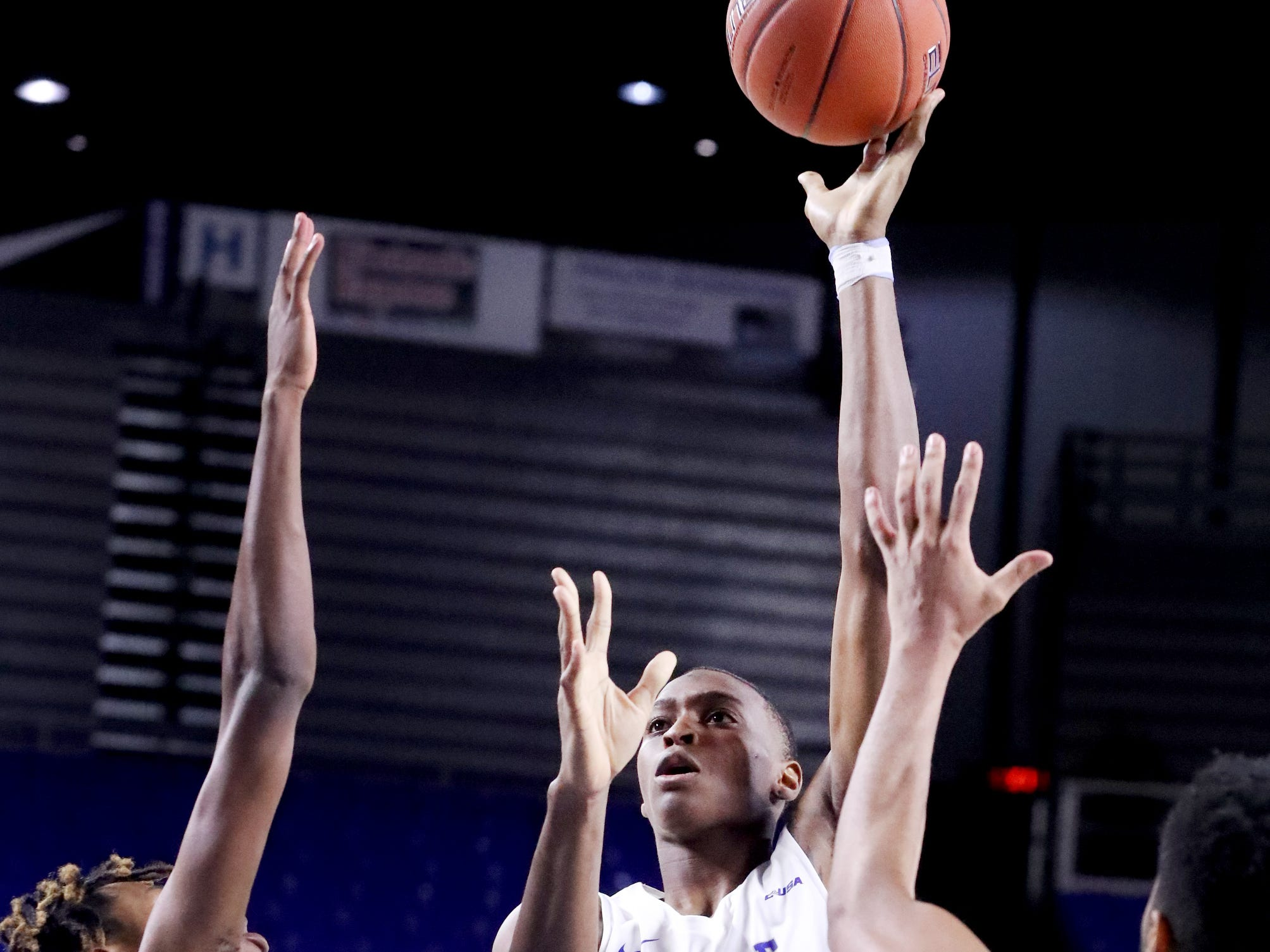 MTSU's Karl Gamble (25) goes up for a shot against Lees-McRae on Tuesday, Nov. 6, 2018.
