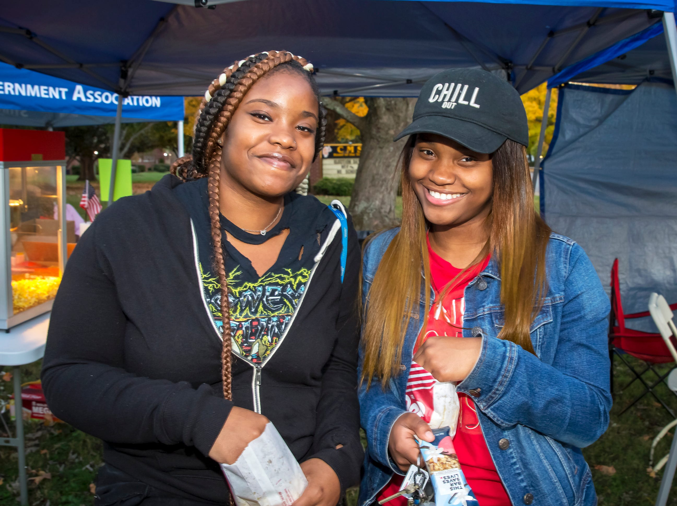 Taylor Hayes and Ashunti Esters at MTSU's 'Party at the Polls' #VoteTogether election-day event held at Central Magnet School.