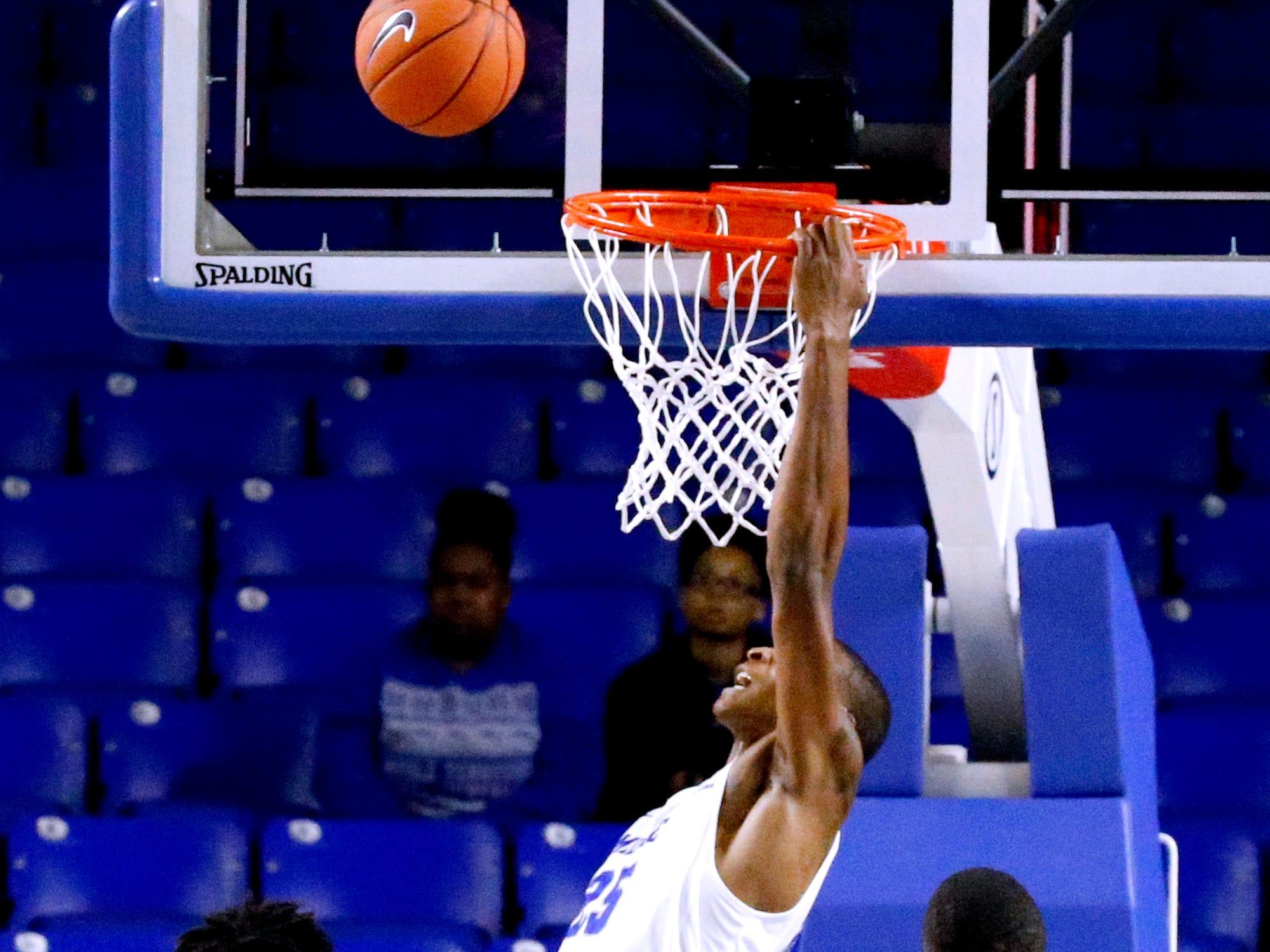 MTSU's Karl Gamble (25) misses a dunk shot against Lees-McRae on Tuesday, Nov. 6, 2018.