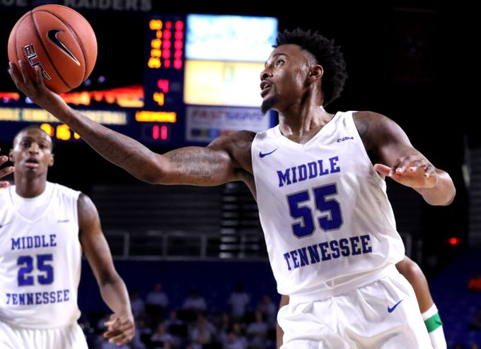 MTSU's Antonio Green (55) goes up for a shot against Lees-McRae on Tuesday, Nov. 6, 2018.