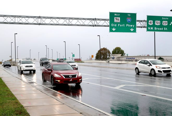 Traffic flows on the bridge over Broad Street in Murfreesboro on Wednesday. The bridge, which connects Old Fort Parkway and Memorial Boulevard, opened in December 2017 but has not been given a formal name.