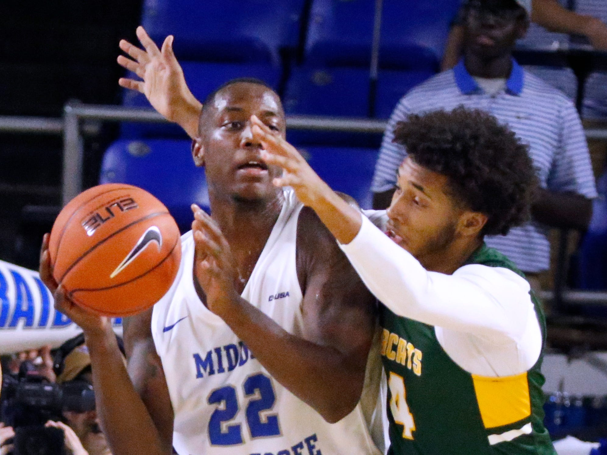 MTSU's Reggie Scurry (22) go to pass the ball as Lees-McRae's Malik Wright (14) guards him on Tuesday, Nov. 6, 2018.