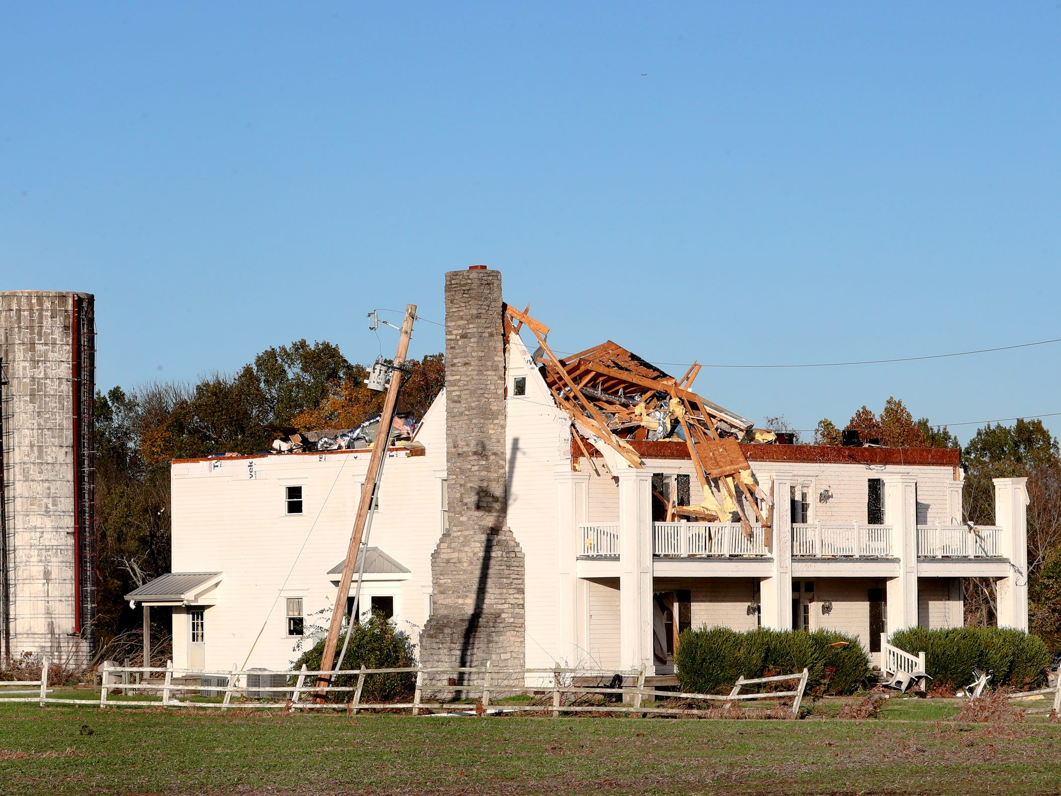 The top floor of the home of John and Tish Erdmann on Rock Springs Midland Road was removed due to a Tornado that blew through the area overnight in Christiana, Tenn. on Tuesday, Nov. 6, 2018.
