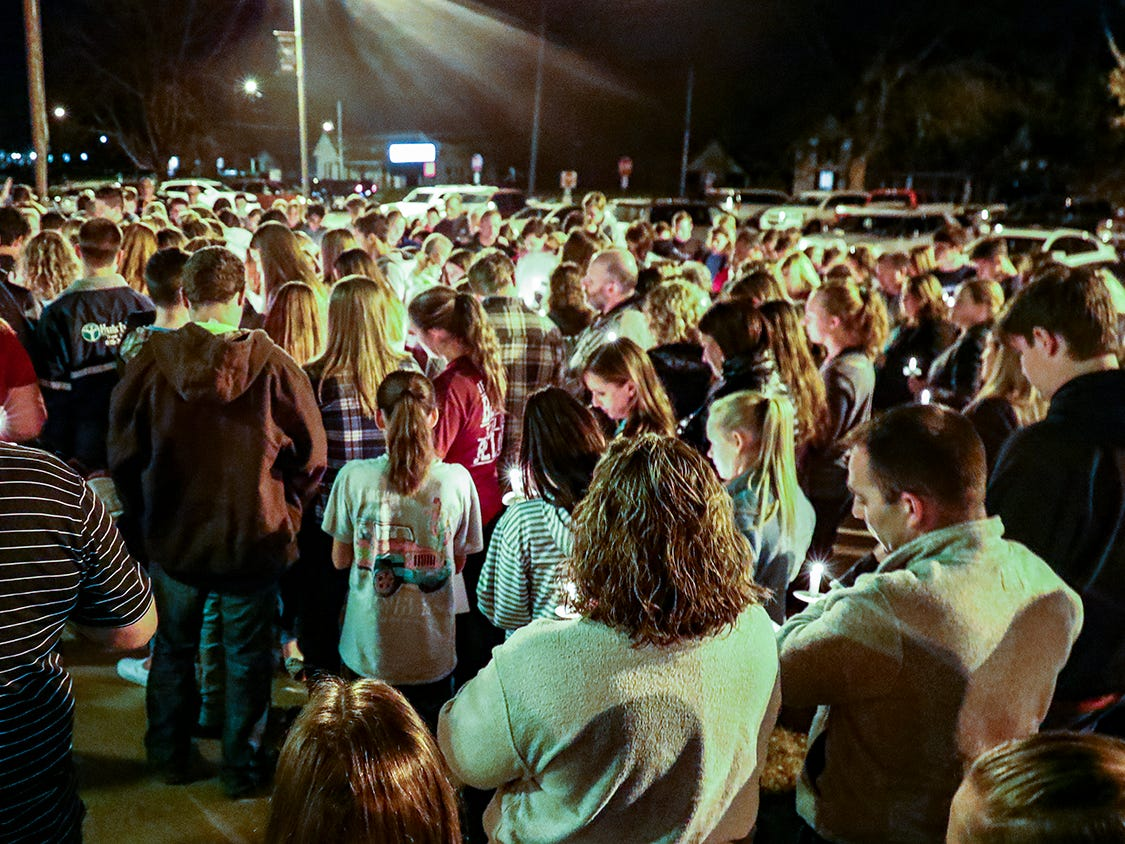 An estimated 300 people attended a  vigil at Eagleville School Tuesday, Nov. 6, 2018 in memory of Angie Walker.