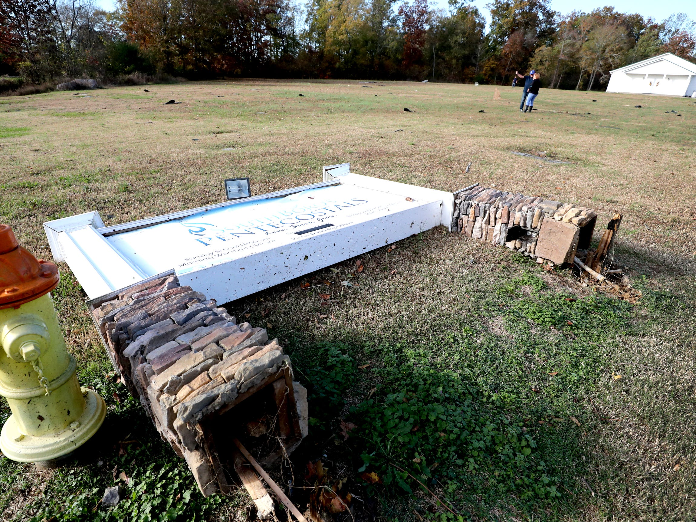 The sign of the South Boros Pentecostals Church was knocked over by a tornado that occurred overnight, on Rock Springs Midland Road in Christiana, Tenn. on Tuesday, Nov. 6, 2018.