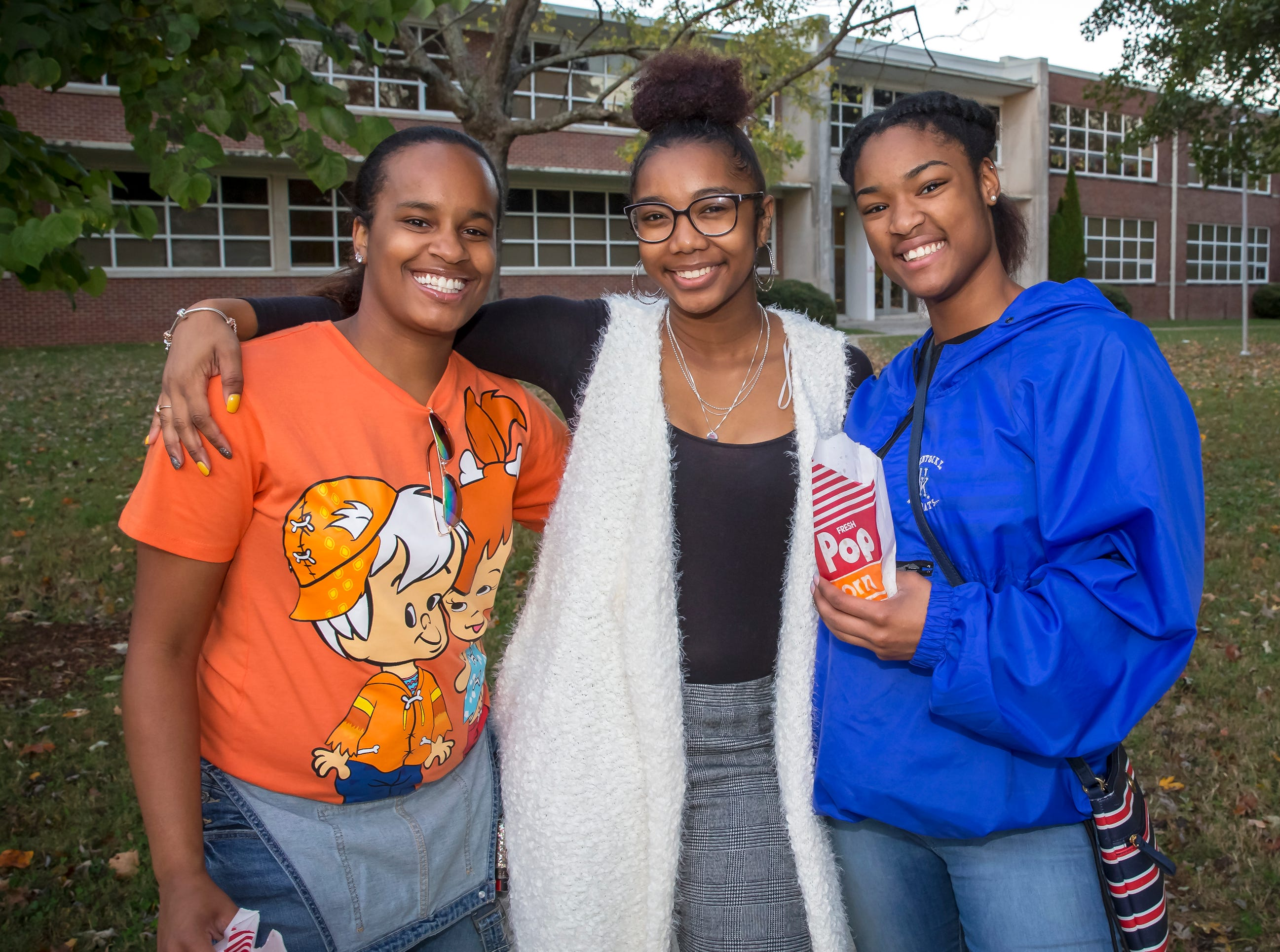 Destini Broadnax, Terica Black and Khaya Northcross at MTSU's 'Party at the Polls' #VoteTogether election-day event held at Central Magnet School.