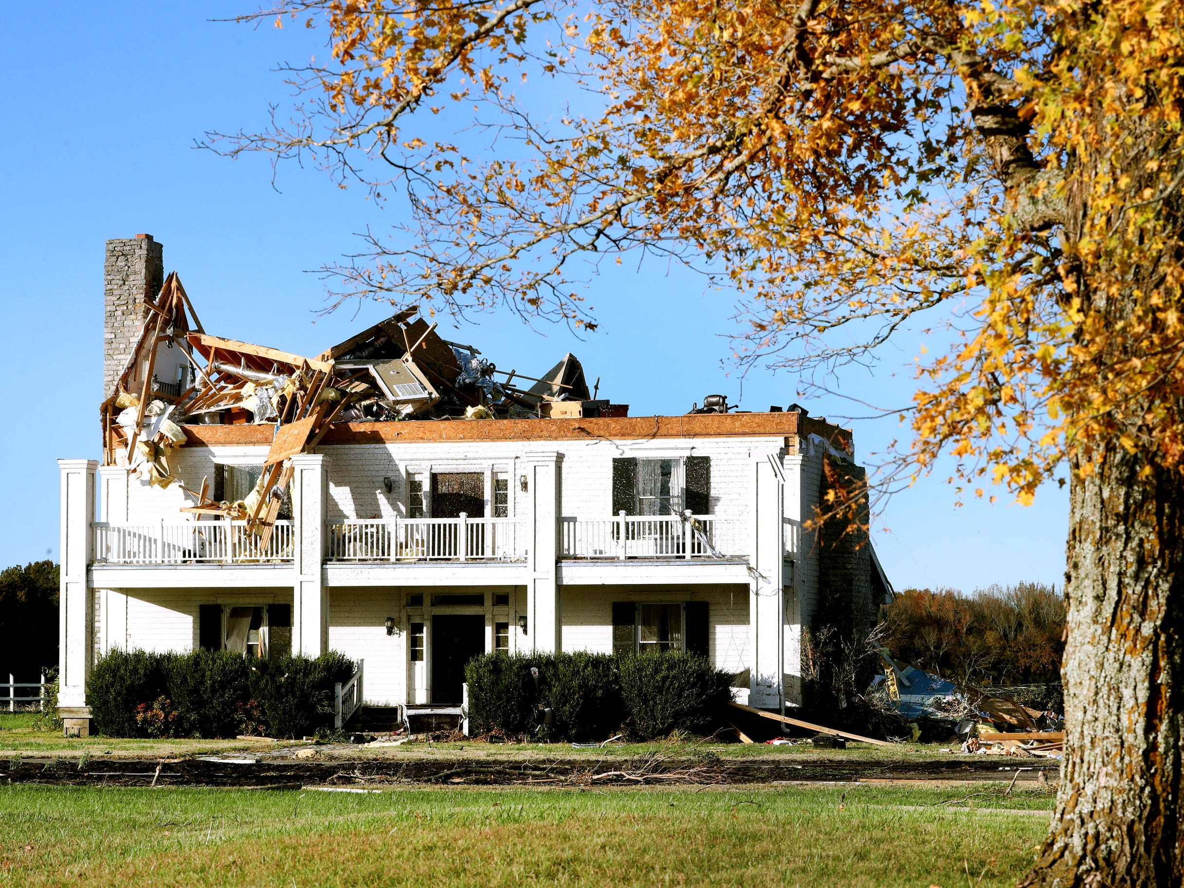 The top floor of the home of John and Tish Erdmann on Rock Springs Midland Road was removed after a tornado blew through the area overnight in Christiana, Tenn., on Tuesday, Nov. 6, 2018.