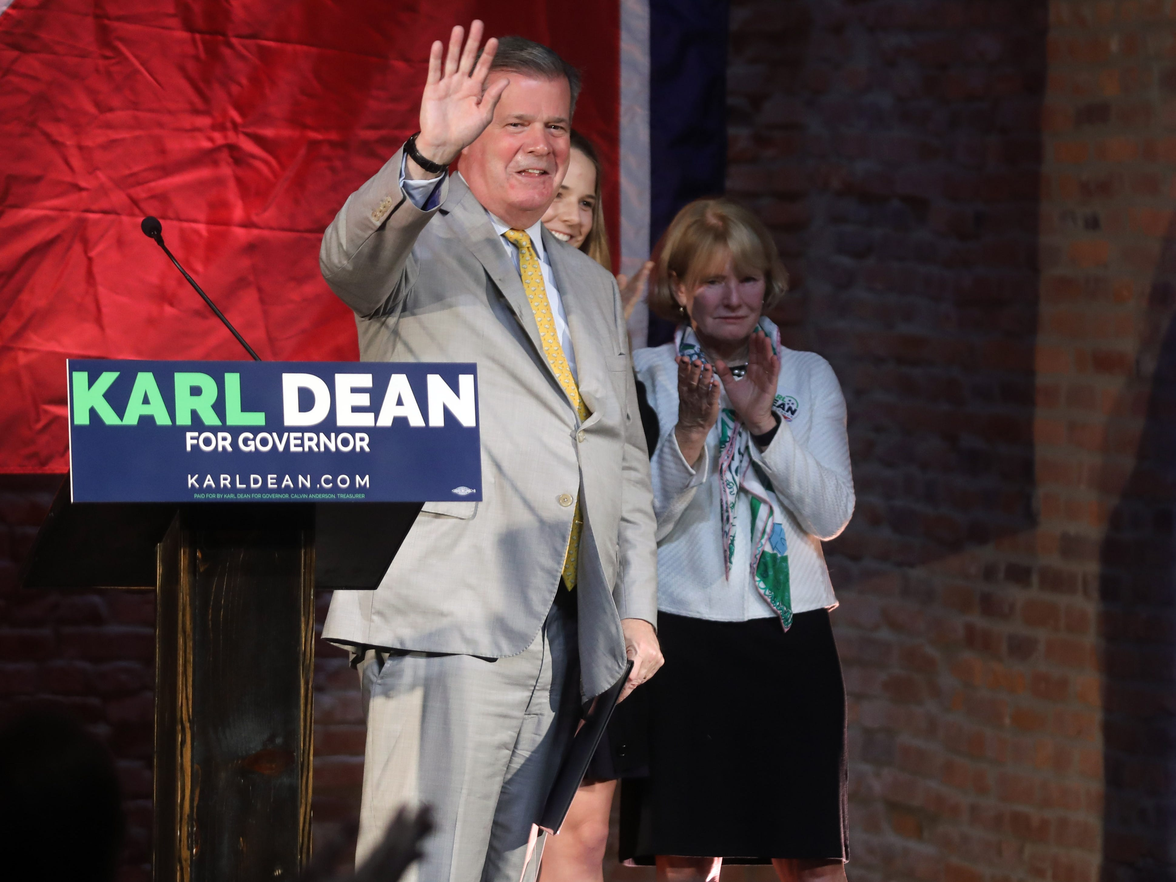 Democratic gubernatorial candidate Karl Dean thanks supporters during a campaign party held at Clementine Tuesday, November 6, 2018.