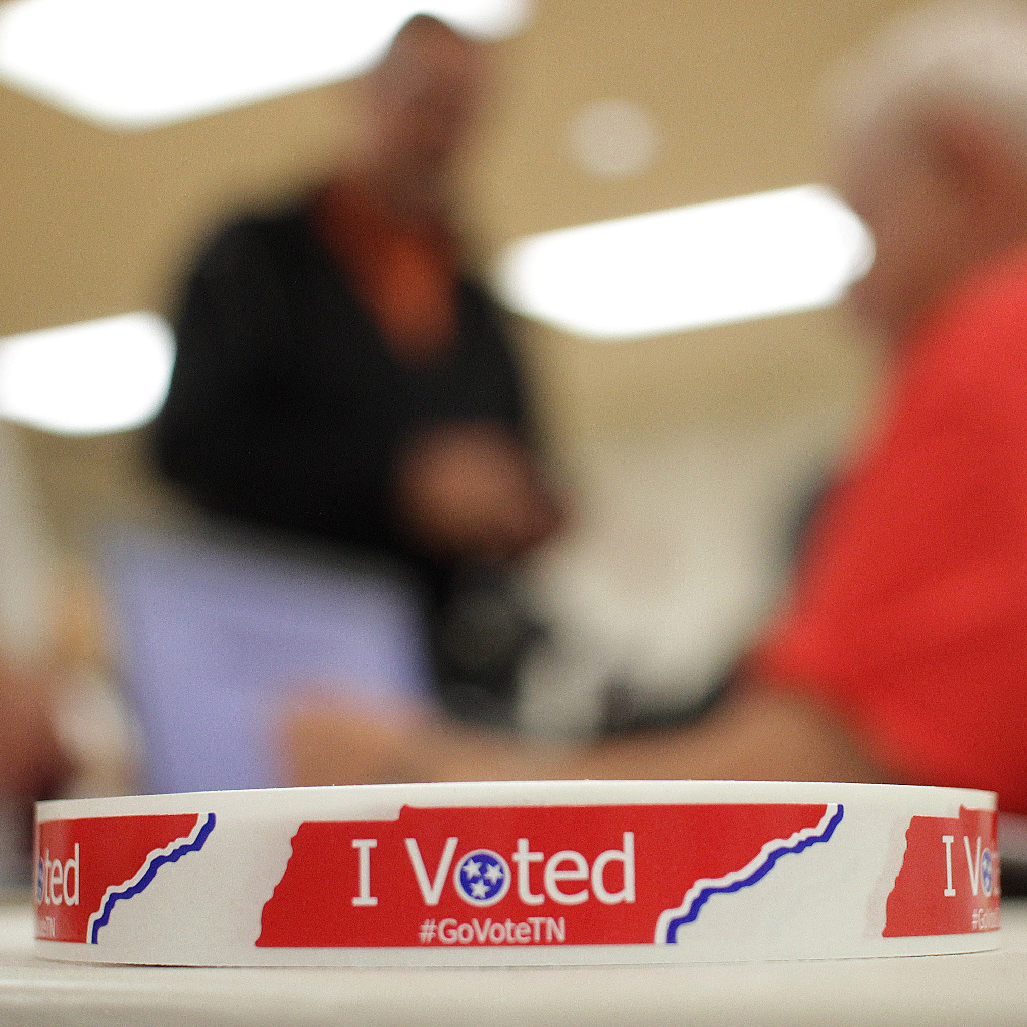 A roll of I Voted stickers waits for those who cast their votes at Volunteer State Community College on Tuesday, November 6, 2018.