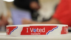 A roll of I Voted stickers waits for those who cast their votes at Volunteer State Community College.