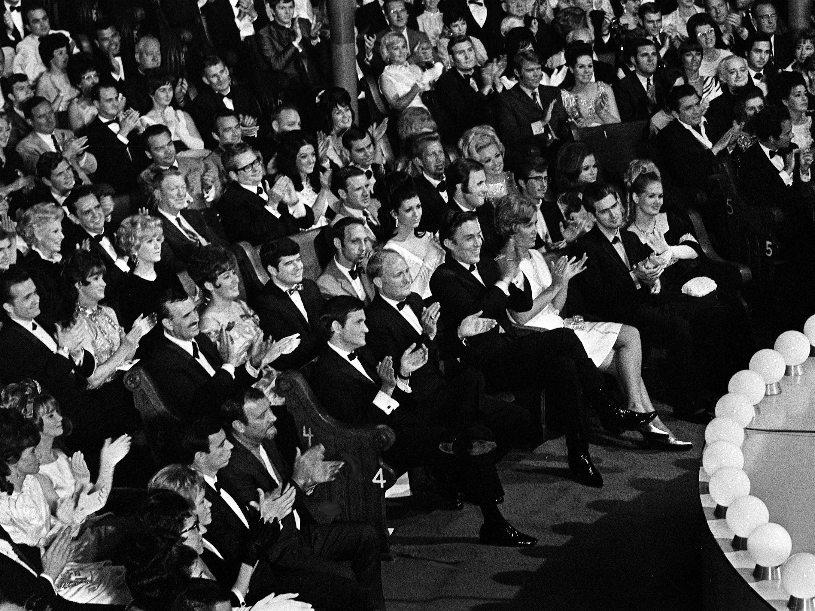 """The star-filled crowd gathers for the second annual CMA Awards show at the Ryman Auditorium on Oct. 18, 1968. The show was taped by NBC for airing on the """"Kraft Music Hall."""""""