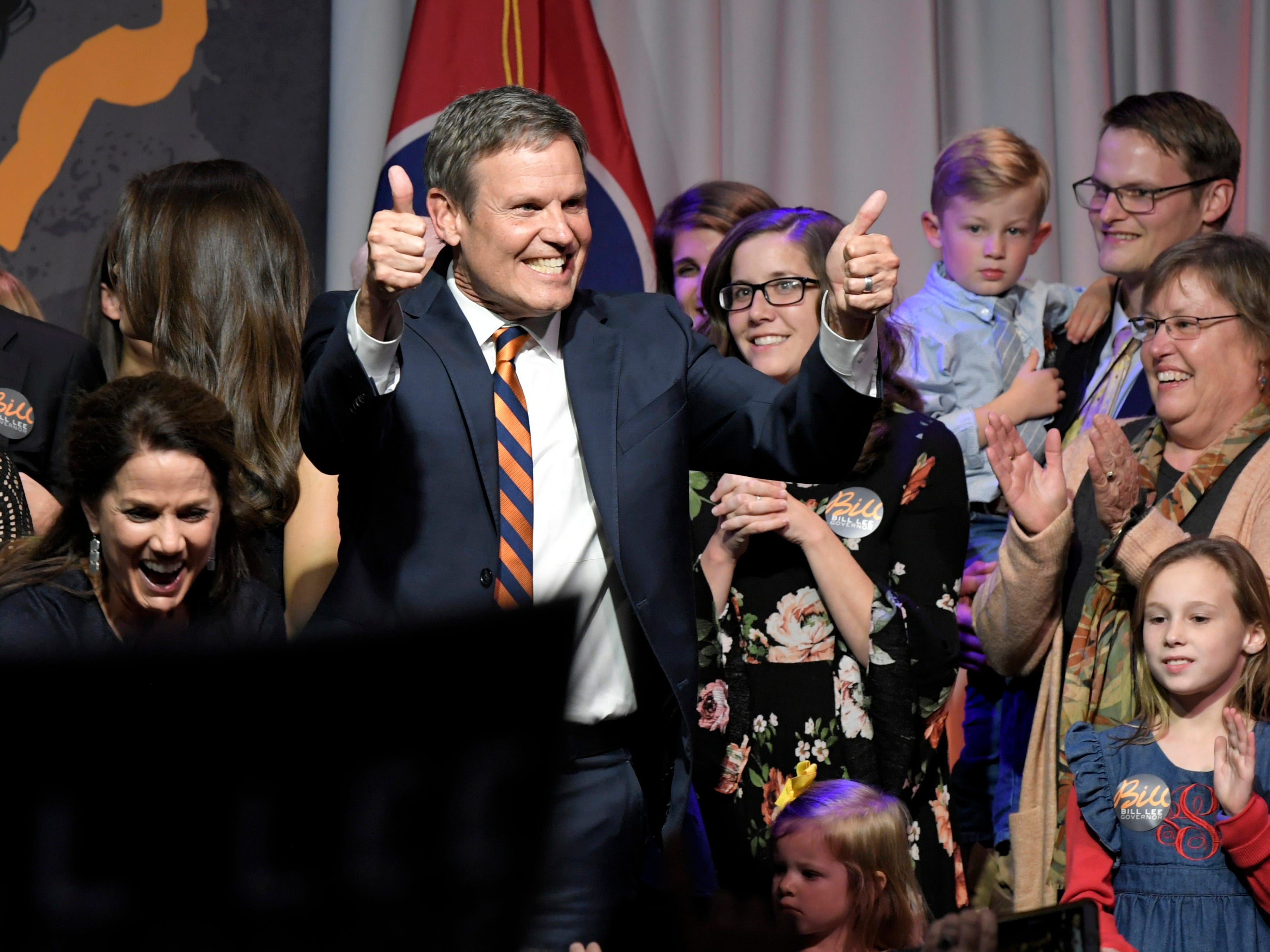 Gov.-elect Bill Lee addresses supporters at his the election party at the Factory in Franklin on Tuesday, Nov. 6, 2018.