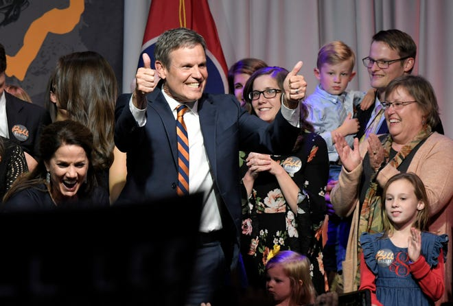 Gov.-elect Bill Lee addresses supporters at his the election party at the Factory in Franklin on Tuesday