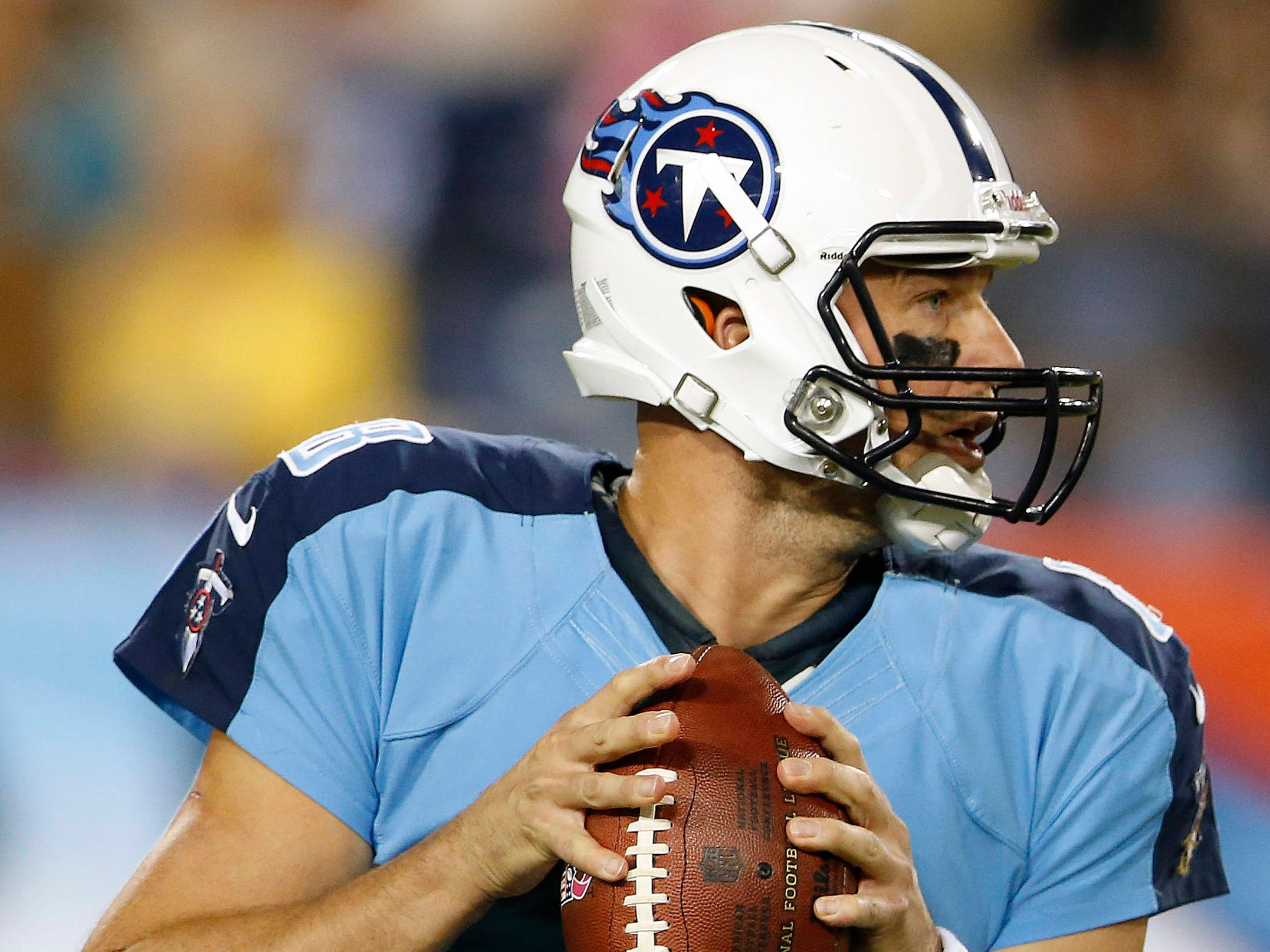 Matt Hasselback -- 21 games started as a Titans quarterback since 1981  Here, Hasselbeck (8) drops to pass during the first half of the Titans' NFL football game against the Pittsburgh Steelers on Thursday, Oct. 11, 2012, in Nashville, Tenn.