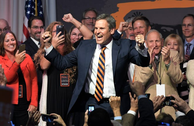 Republican Bill Lee celebrates his victory in the Tennessee gubernatorial election with supporters during a party on Tuesday night at the Factory in Franklin.