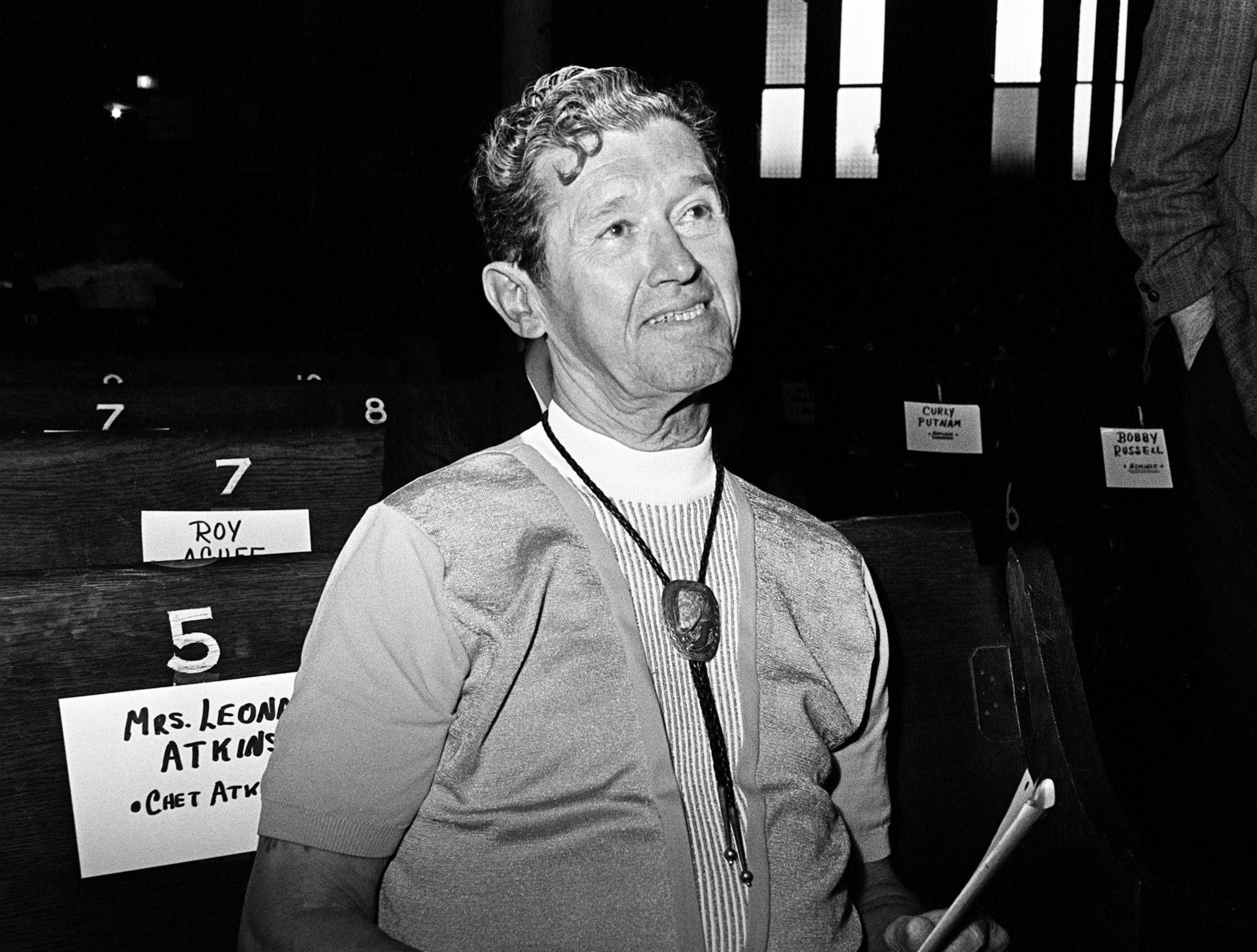 Roy Acuff looks on during rehearsal at the Grand Ole Opry on Oct. 18, 1968, for that night's CMA Awards show.