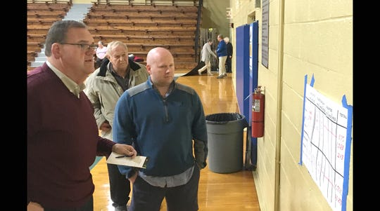Fairview candidates John Blade (left) and Shannon Crutcher review the unofficial election totals Tuesday night at the Fairview Recreation Center.