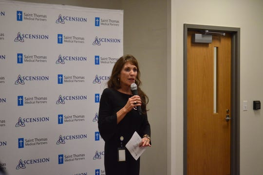 Gallatin Mayor Paige Brown addresses a crowd at the Saint Thomas Medical Partners grand opening Tuesday, Nov. 6, 2018.