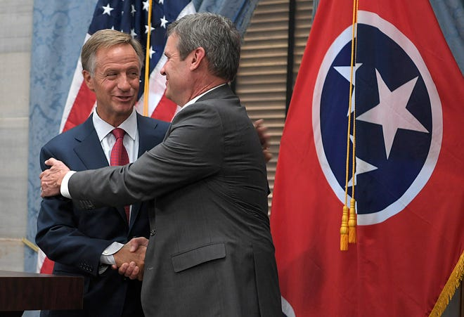 Tennessee  Governor Bill Haslam  and Governor-elect Bill Lee held a joint press conference on Wednesday, Nov. 7, 2018 at the Tennessee State Capitol.