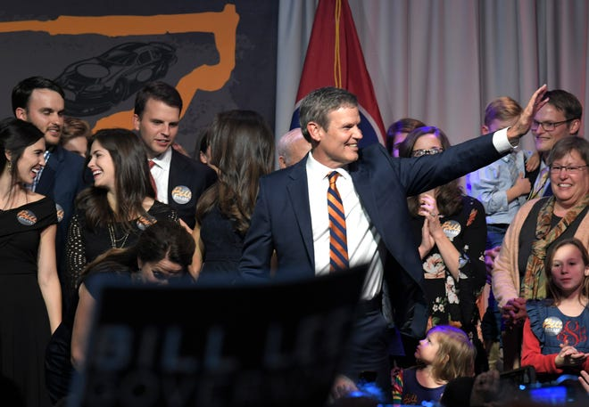 Tennessee Gov.-elect Bill Lee celebrates his victory with supporters during an election party Nov. 6, 2018, at the Factory in Franklin. The longtime businessman has to figure out what he'll do with Lee Company, the Franklin-based HVAC, electrical and plumbing business his grandfather founded in 1944 — and where Lee went to work in 1981.