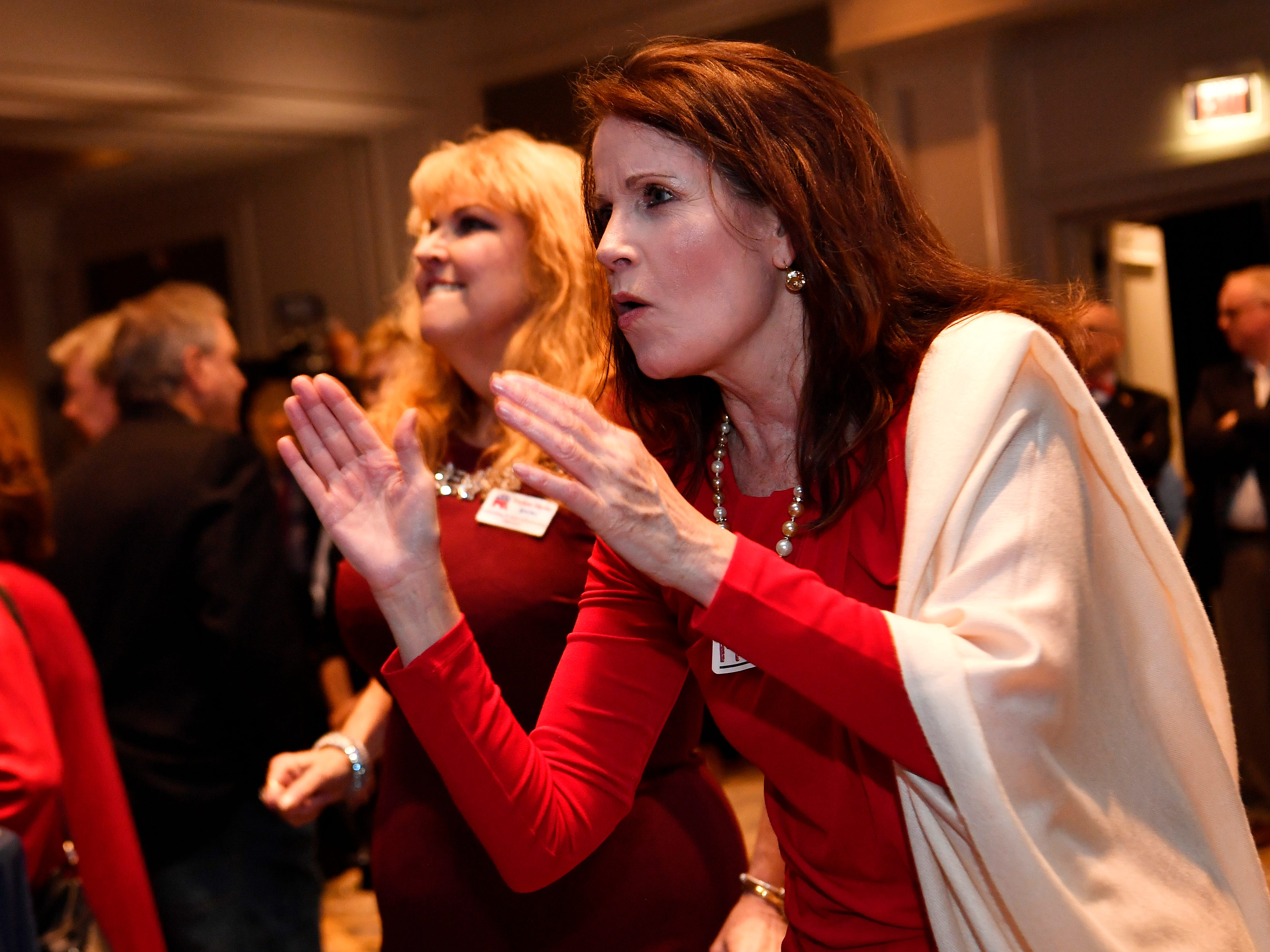 Darlene Hipsher and Melissa Miles celebrate during the election night watch party for Republican U.S. Senate candidate Marsha Blackburn  Tuesday, Nov. 6, 2018, in Franklin, Tenn.