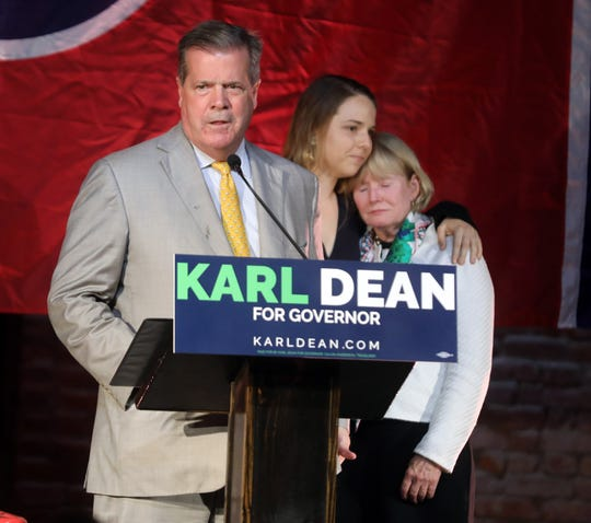 Democratic gubernatorial candidate Karl Dean delivers his concession speech at his campaign party Tuesday.