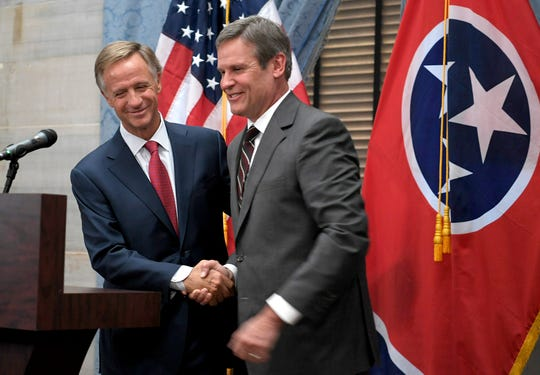 Tennessee Governor Bill Haslam congratulates Governor-elect Bill Lee during a joint press conference on Wednesday, Nov. 7, 2018 at the Tennessee State Capitol.