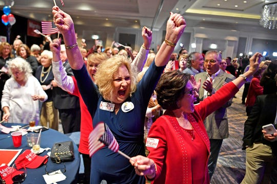 Cheryl Petty and Donna Choate celebrate results at the election night watch party for Republican U.S. Senate candidate Marsha Blackburn on Tuesday in Franklin.