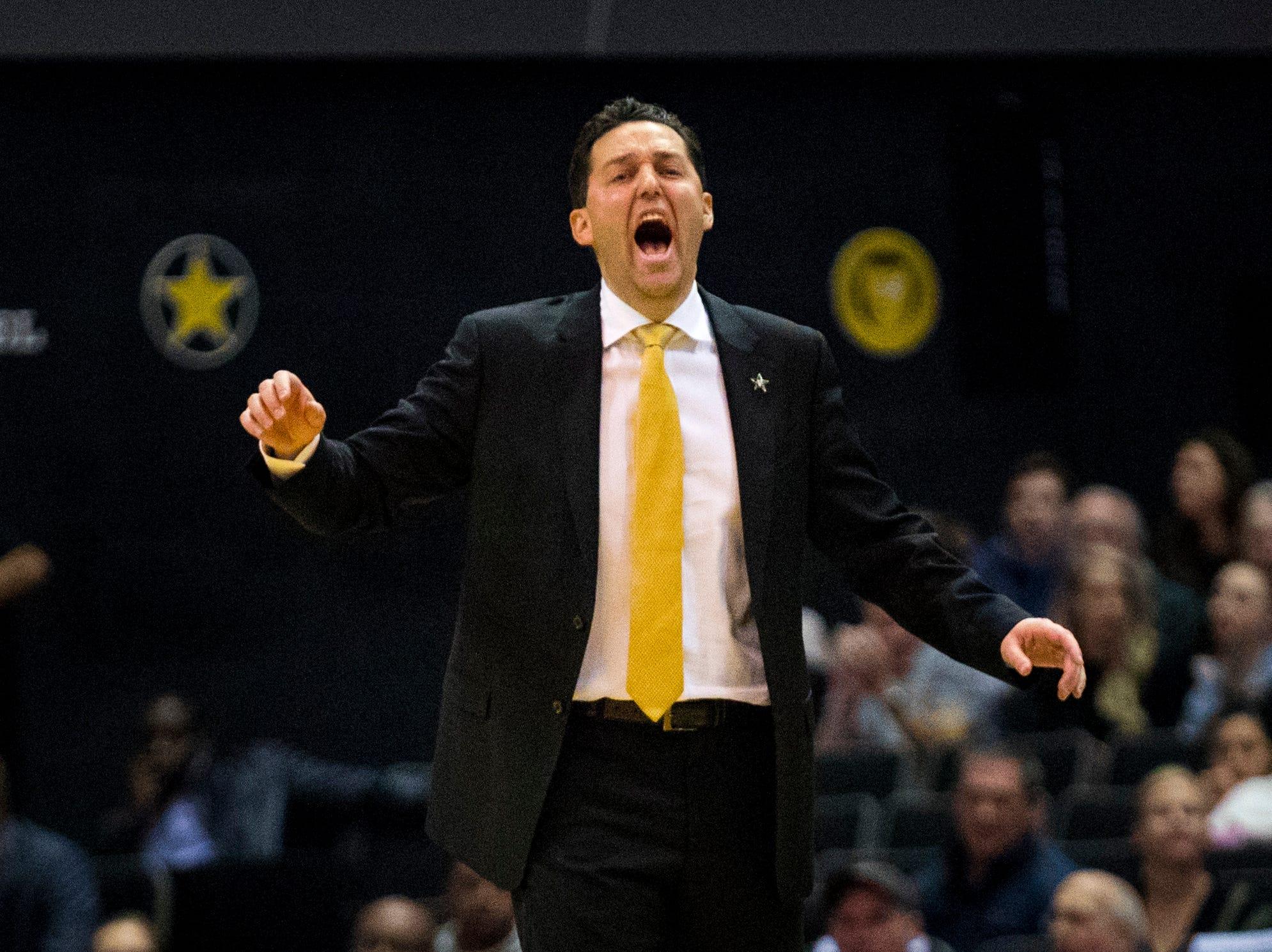 Vanderbilt's head coach Bryce Drew yells during Vanderbilt's game against Winthrop at Memorial Gymnasium in Nashville on Tuesday, Nov. 6, 2018.