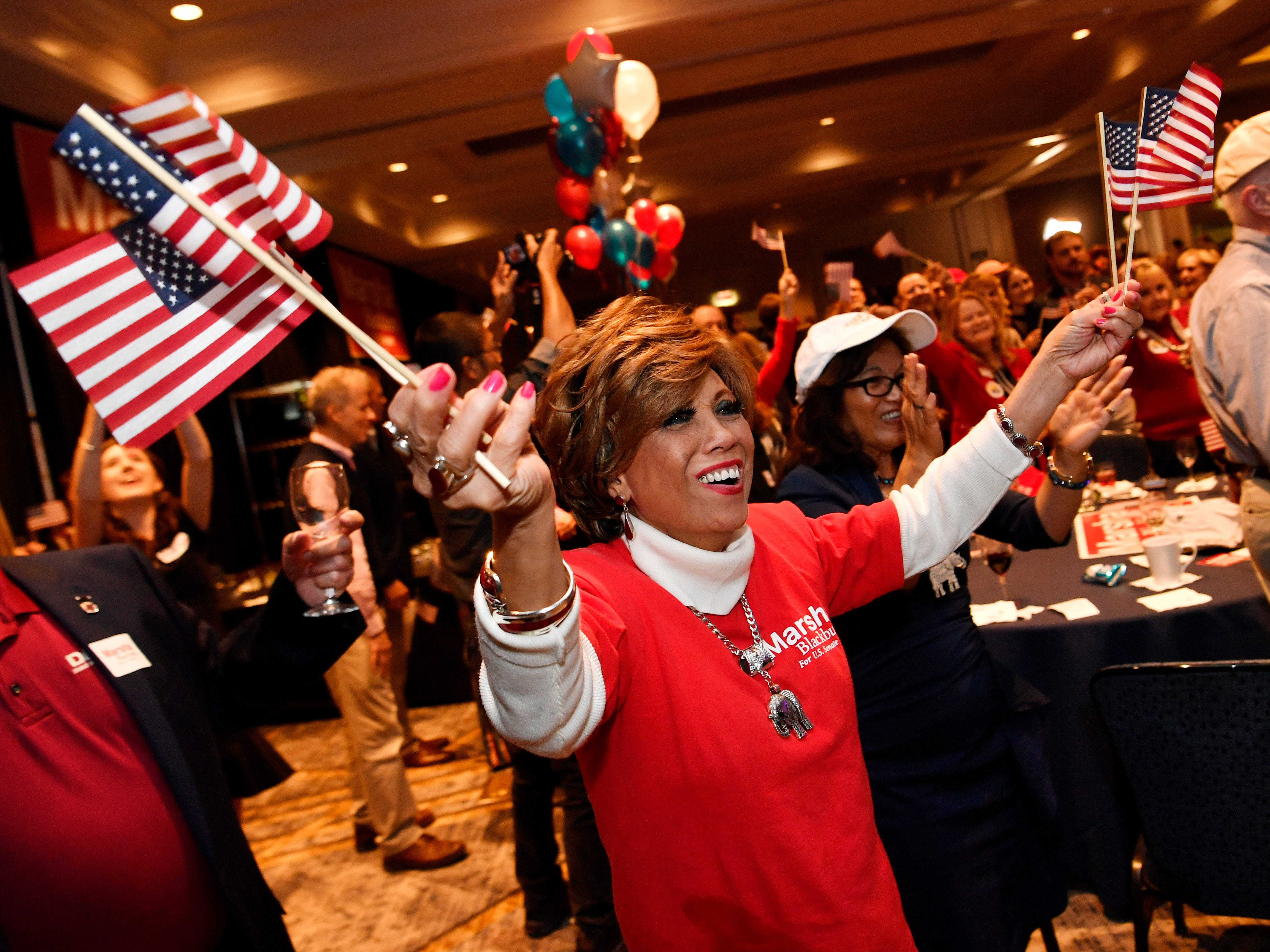 Alcia Lundquist celebrates during the election night watch party for Republican U.S. Senate candidate Marsha Blackburn  Tuesday, Nov. 6, 2018, in Franklin, Tenn.