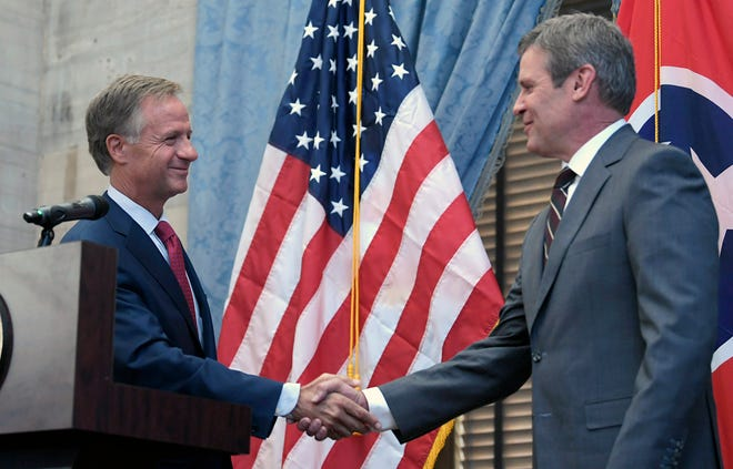 Tennessee Governor Bill Haslam and Governor-elect Bill Lee hold a joint press conference on Wednesday, Nov. 7, 2018 at the Tennessee State Capitol.