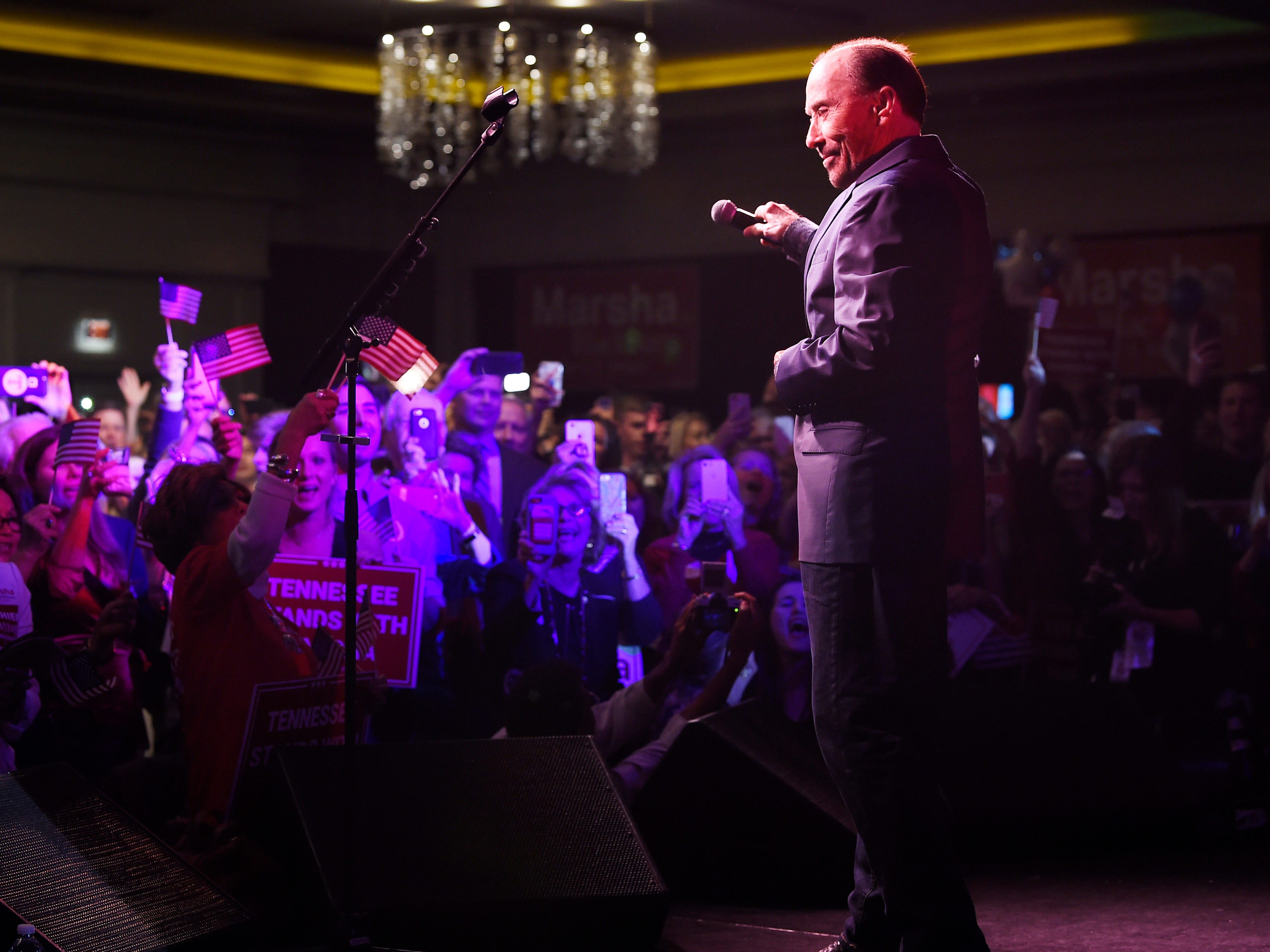 "Lee Greenwood performs ""God Bless the USA"" during the election night watch party for Republican U.S. Senate candidate Marsha Blackburn Tuesday, Nov. 6, 2018, in Franklin, Tenn."