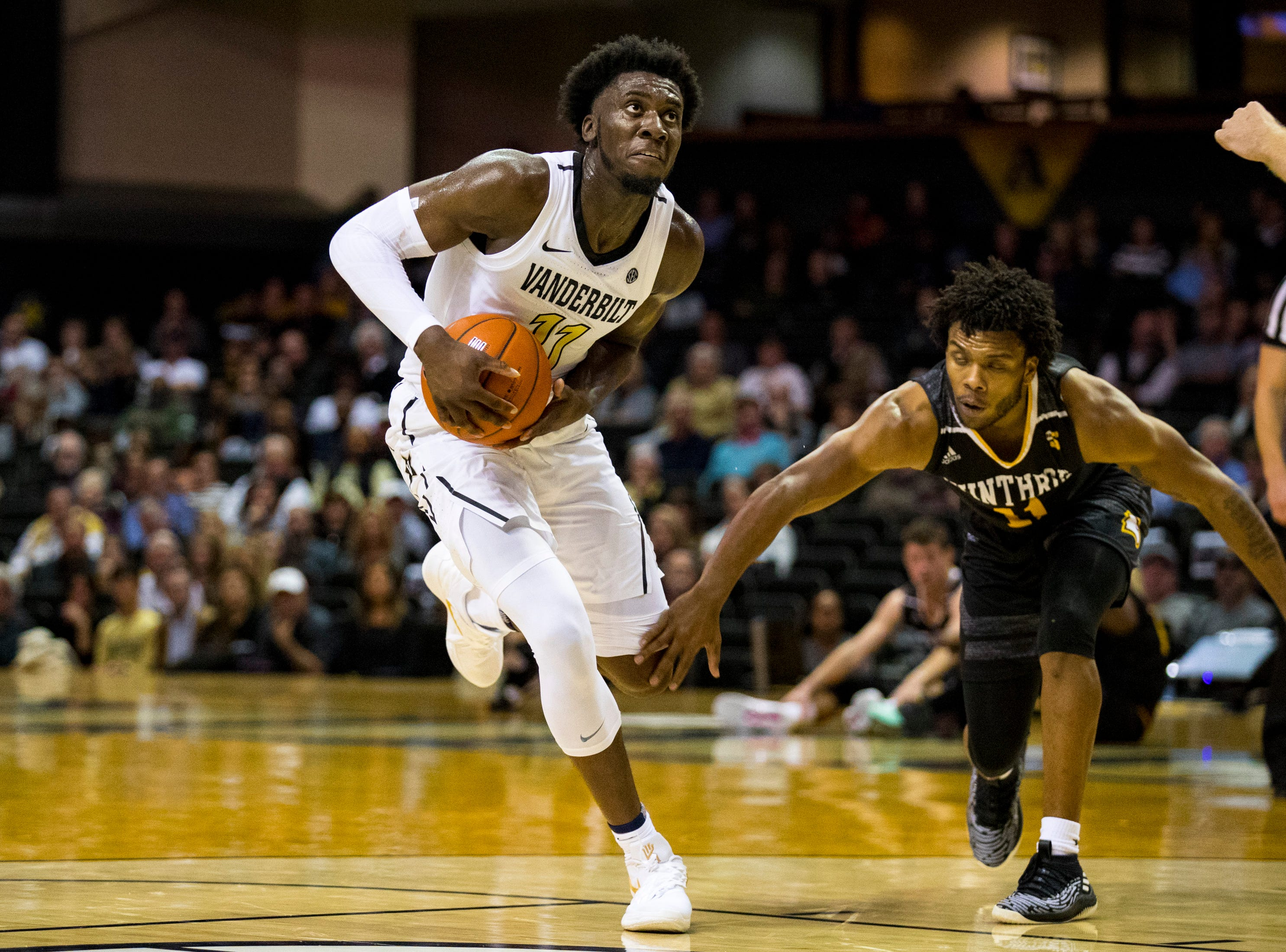 Vanderbilt's Simsola Shittu (11) looks towards the basket during Vanderbilt's game against Winthrop at Memorial Gymnasium in Nashville on Tuesday, Nov. 6, 2018.