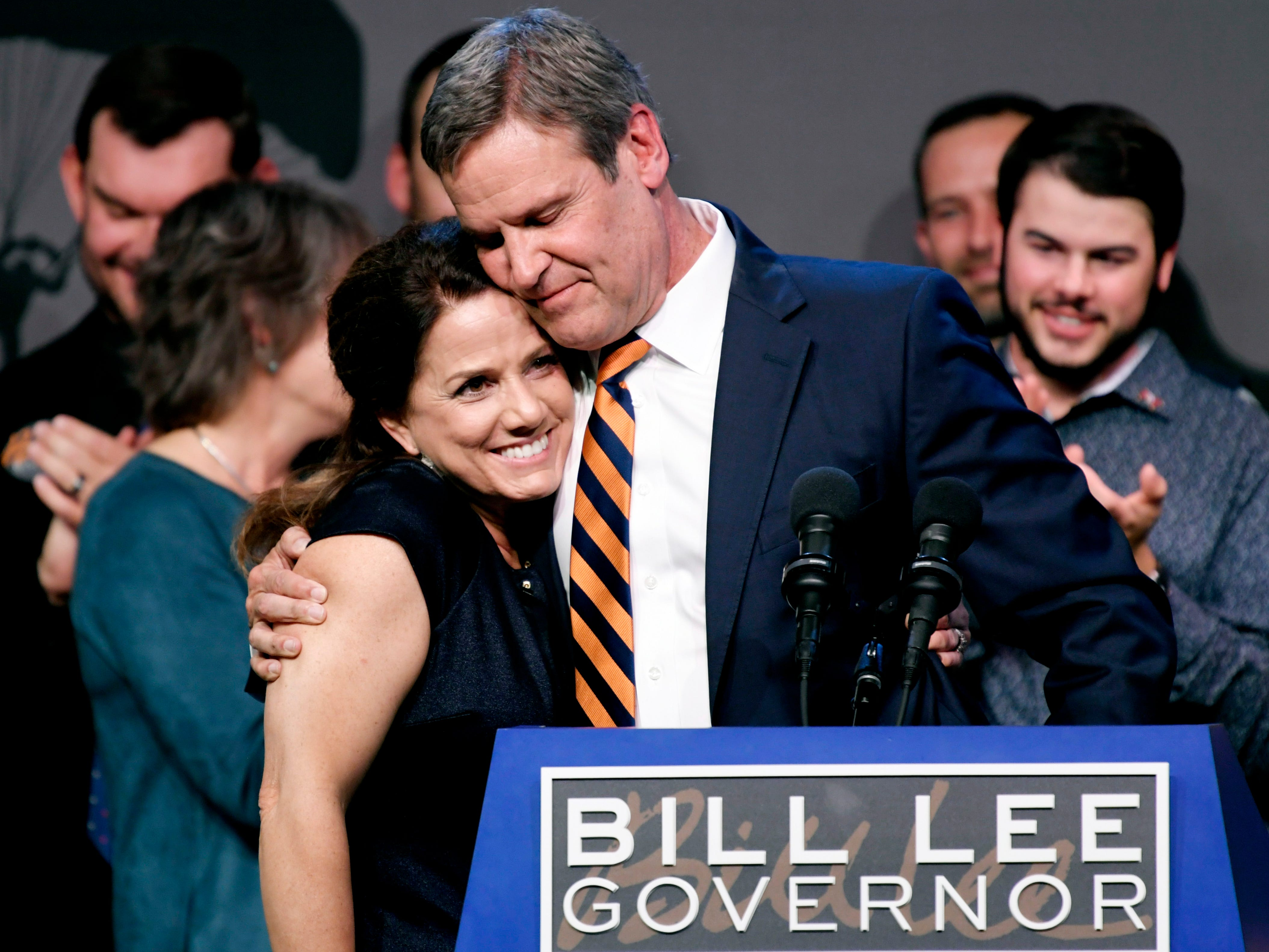 Tennessee Gov.-elect Bill Lee hugs his wife, Maria, as he speaks to supporters at his election party at the Factory in Franklin on Tuesday, Nov. 6, 2018.