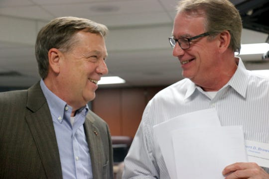 Rep. Sam Whitson shakes hands with Williamson County Election Commission chairman Bob Brown on Nov. 6, 2018.