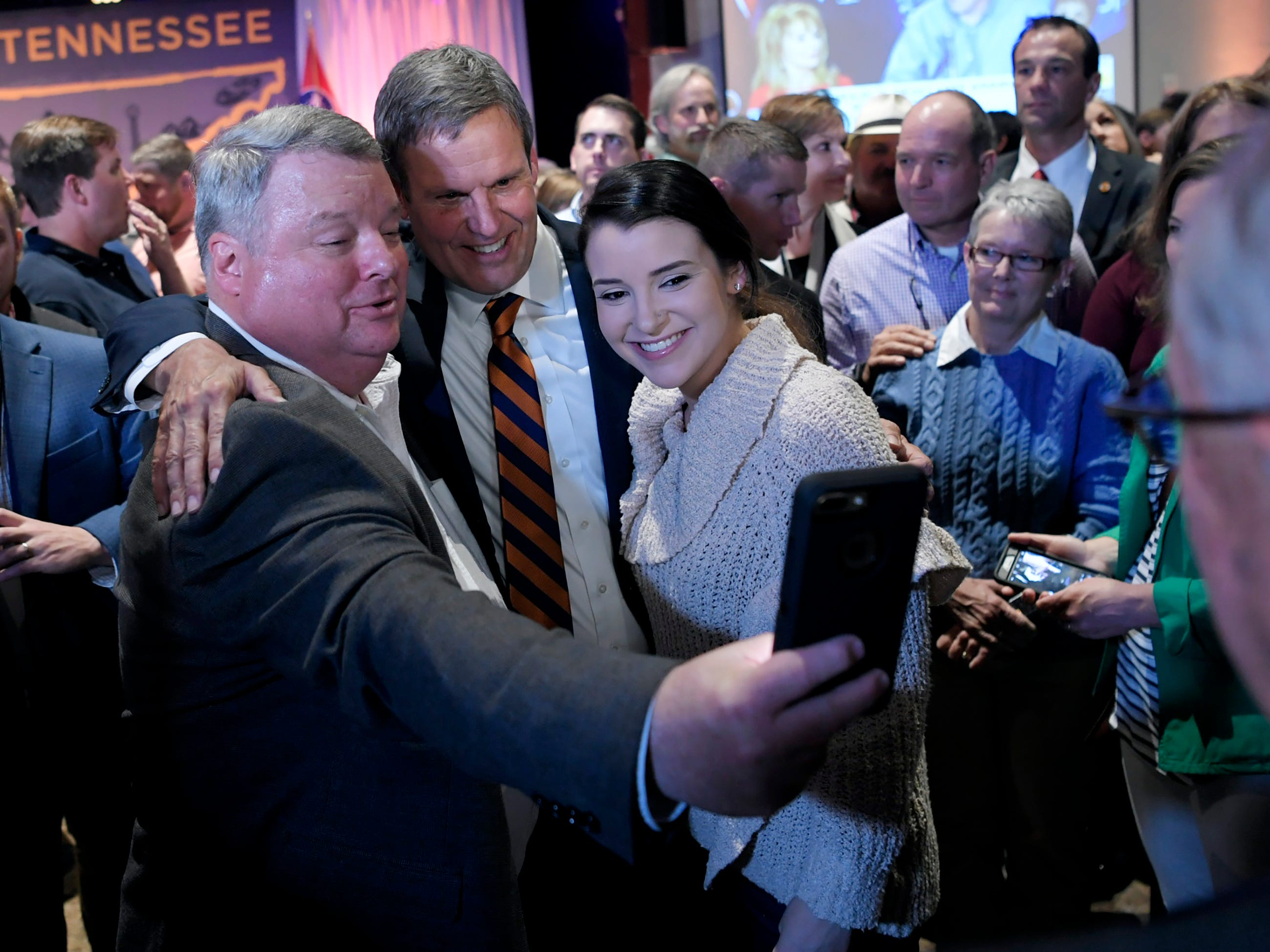 Supporters take a selfie with Governor-elect Bill Lee at his election party Tuesday, Nov. 6, 2018, in Franklin, Tenn.