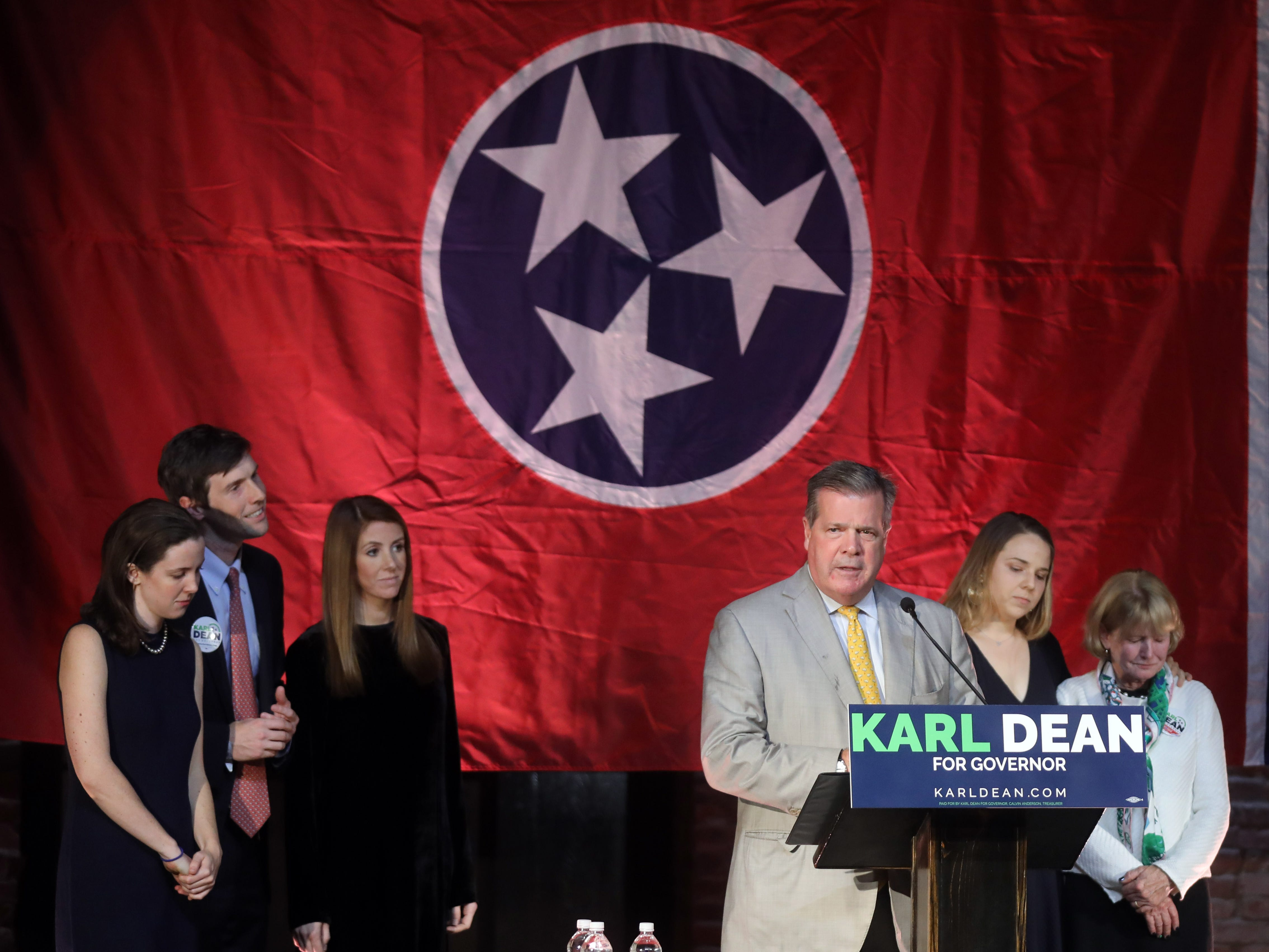 Karl Dean speaks during his campaign party held at Clementine Tuesday, November 6, 2018.