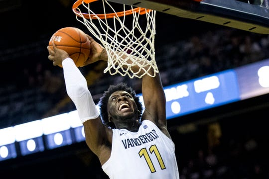 Vanderbilt's Simisola Shittu (11) sinks a dunk during Vanderbilt's game against Winthrop at Memorial Gymnasium in Nashville on Tuesday, Nov. 6, 2018.