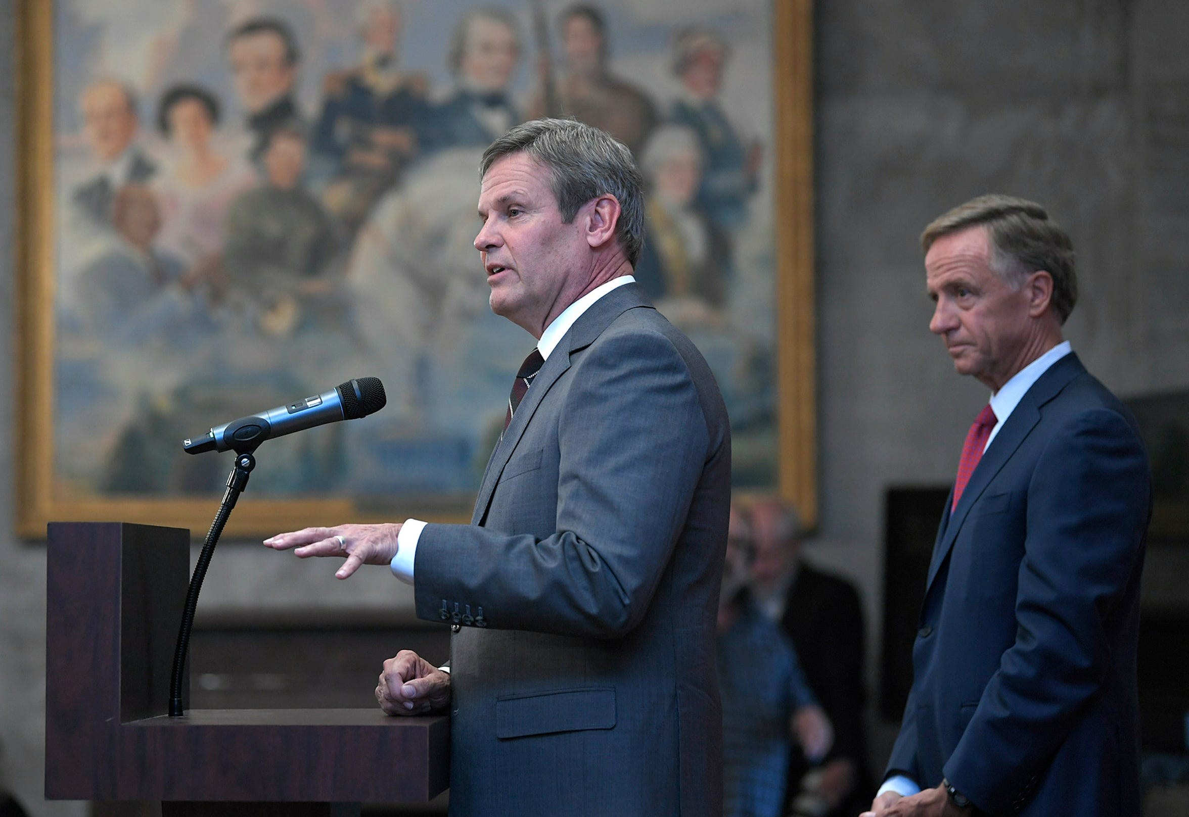 Governor-elect Bill Lee and Gov. Bill Haslam held a joint press conference on Wednesday, Nov. 7, 2018 at the Tennessee State Capitol.